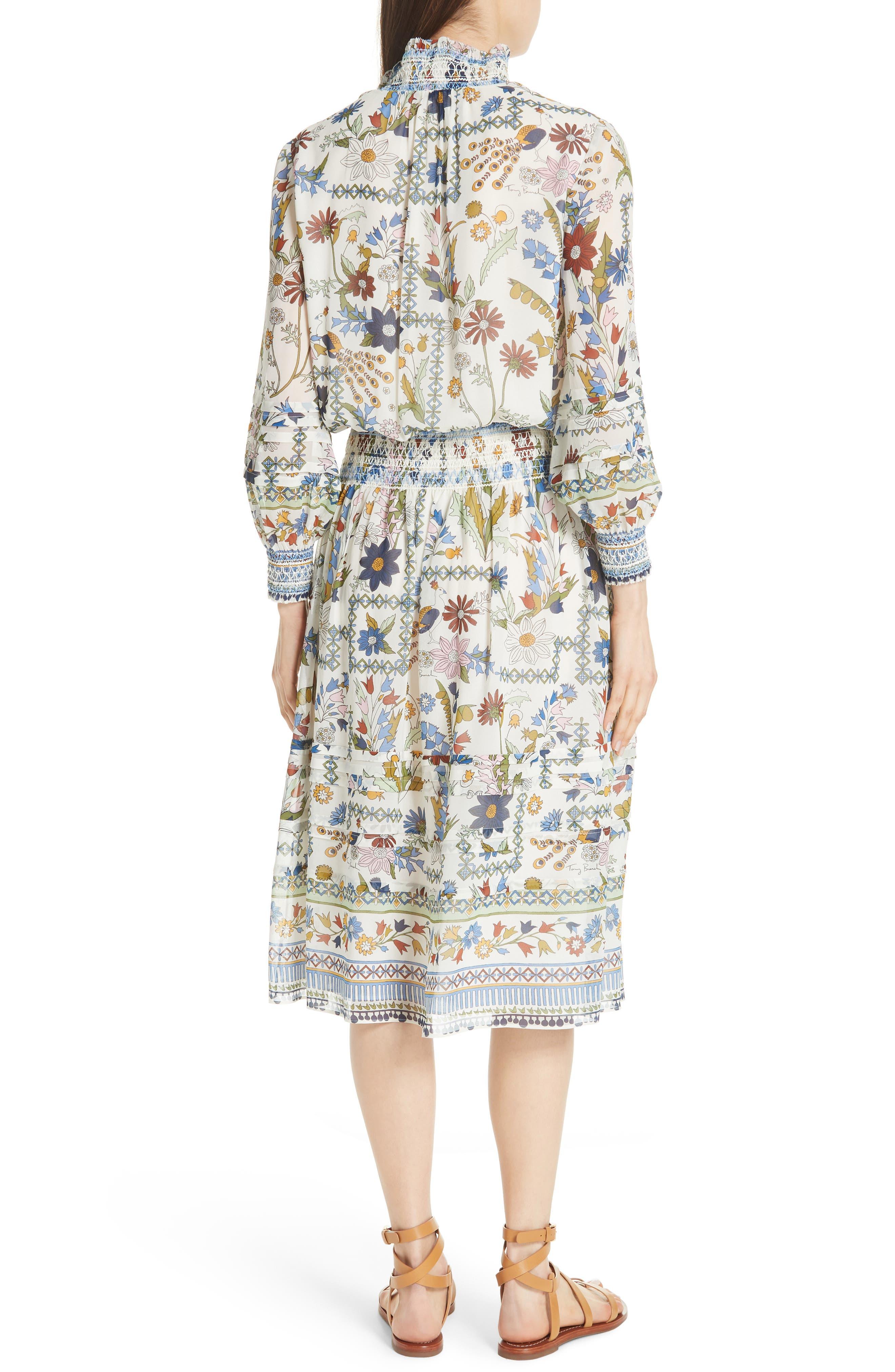 Waverly Floral Print Silk Midi Dress,                             Alternate thumbnail 2, color,                             Ivory Meadow Folly