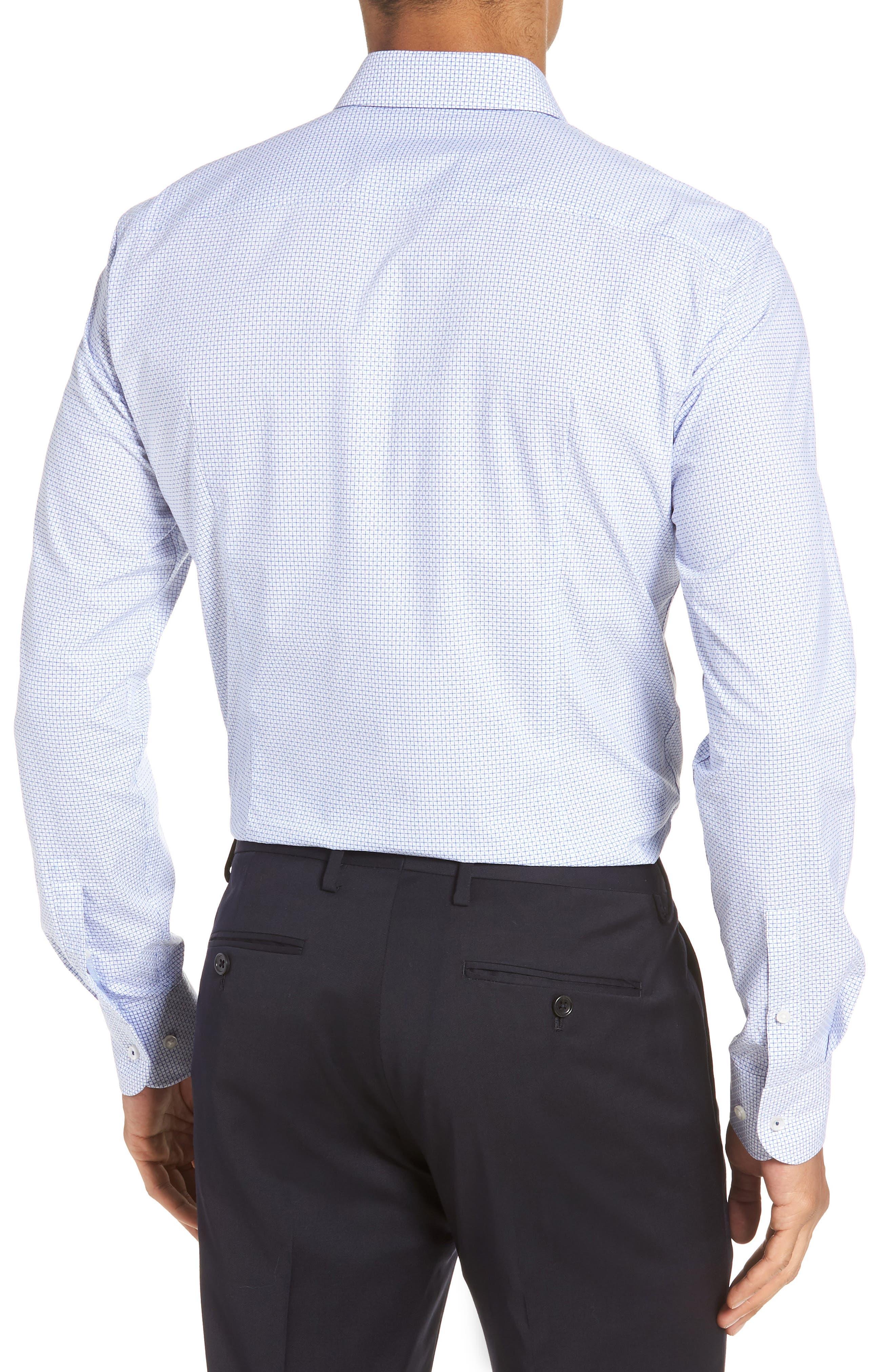 Jesse Slim Fit Check Dress Shirt,                             Alternate thumbnail 3, color,                             Blue
