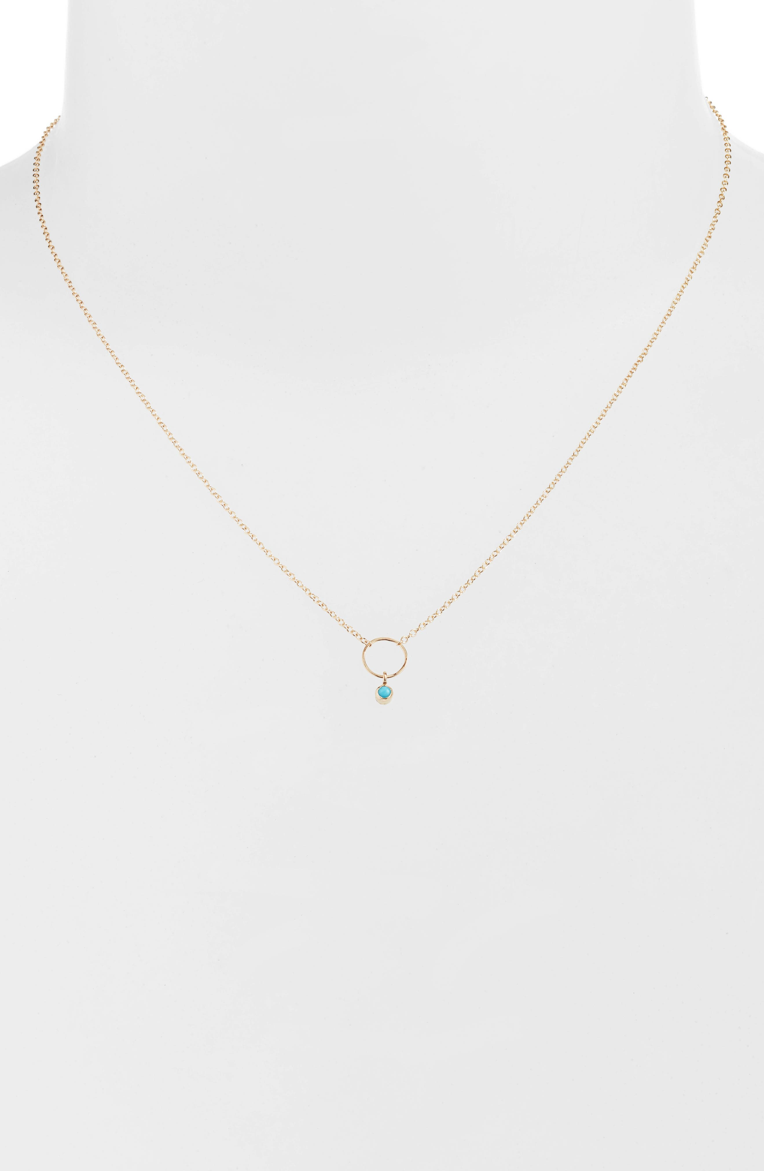 Dangling Turquoise Circle Pendant Necklace,                             Main thumbnail 1, color,                             Yellow Gold