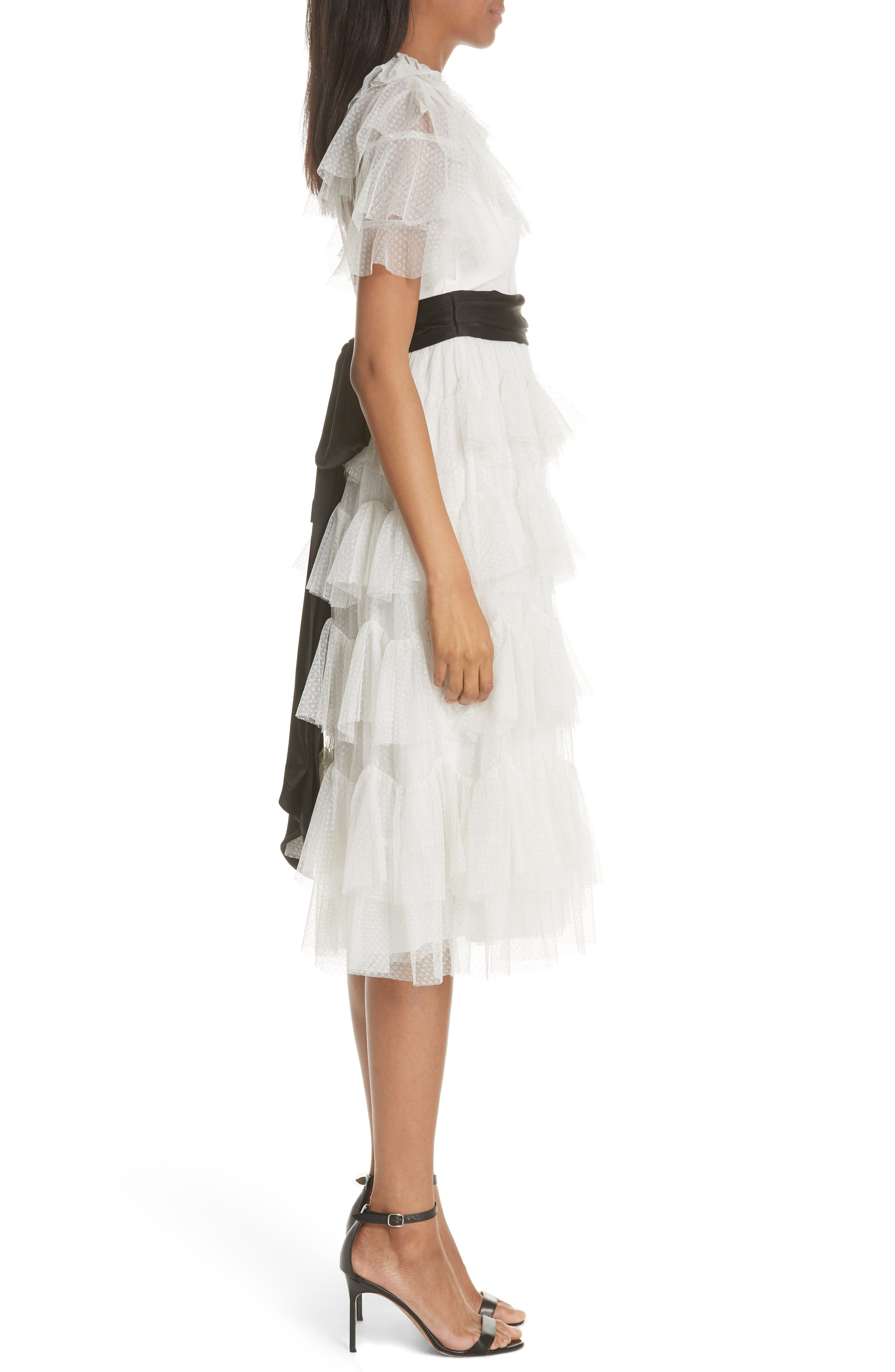 Tiered Tea Length Tulle Dress,                             Alternate thumbnail 3, color,                             Pearl