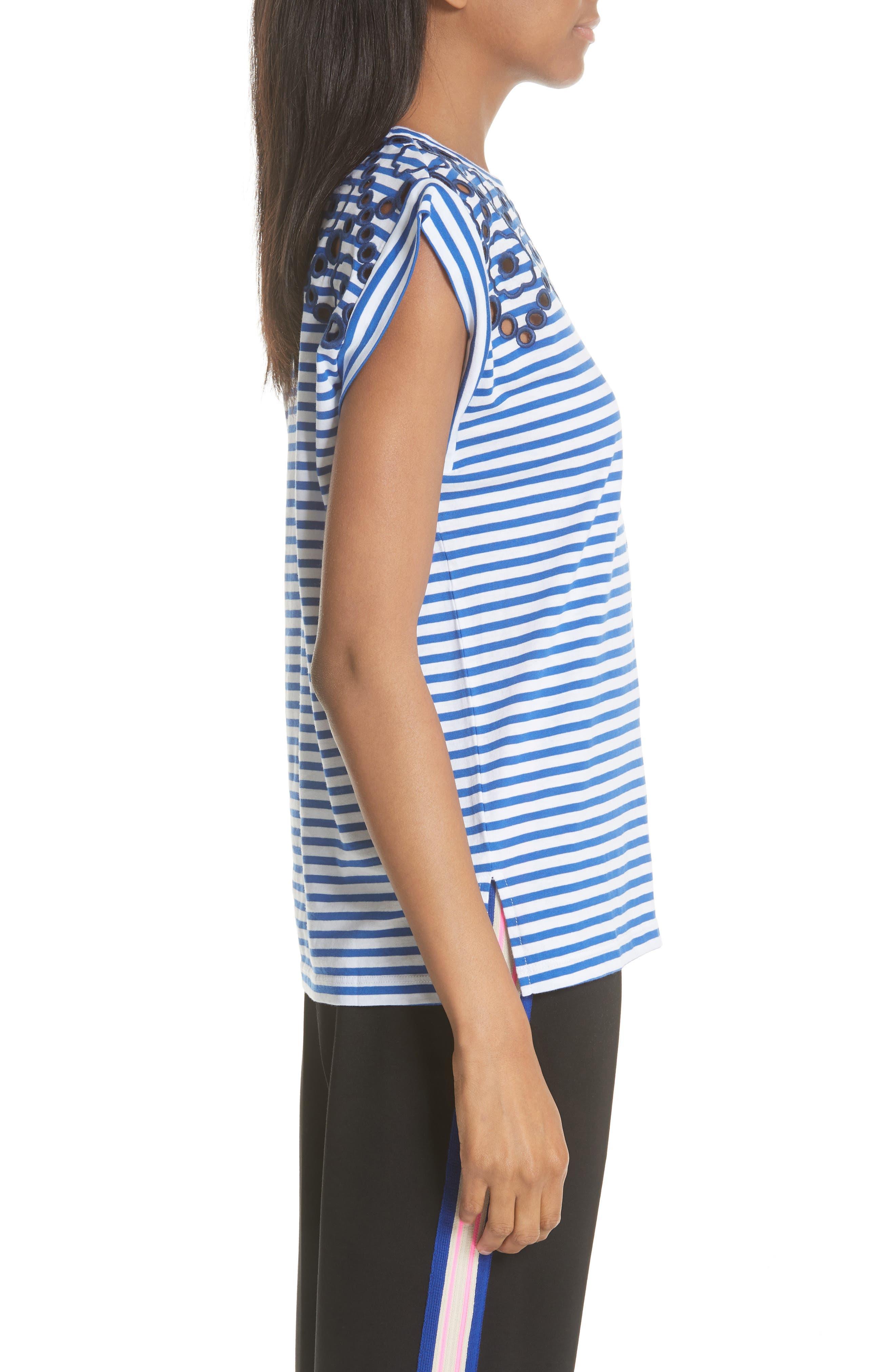 Stripe Embroidered Stencil Cotton Top,                             Alternate thumbnail 3, color,                             Bleu Nuit