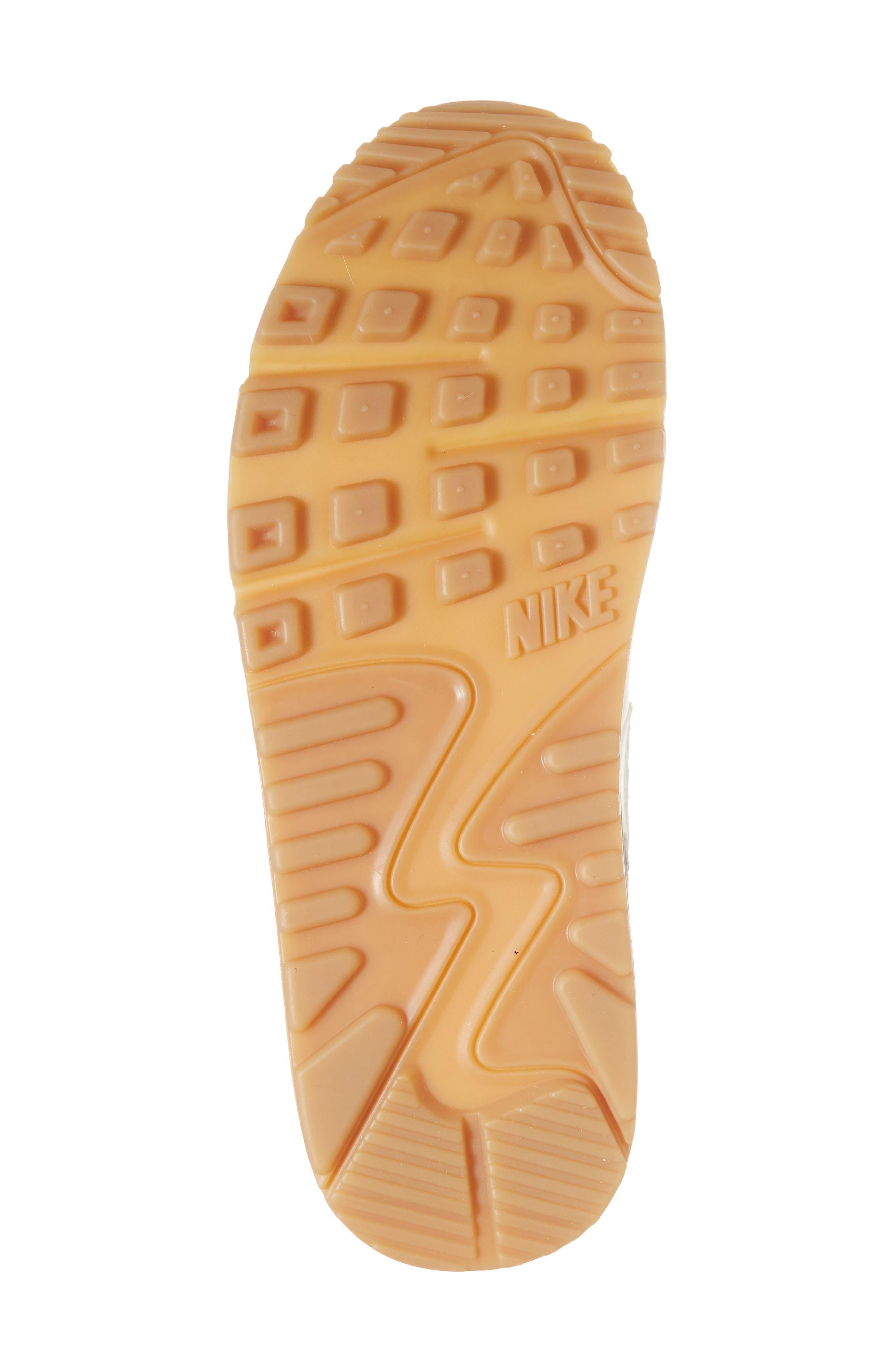 Air Max 90 Premium Sneaker,                             Alternate thumbnail 6, color,                             Sail/ Light Brown/ White