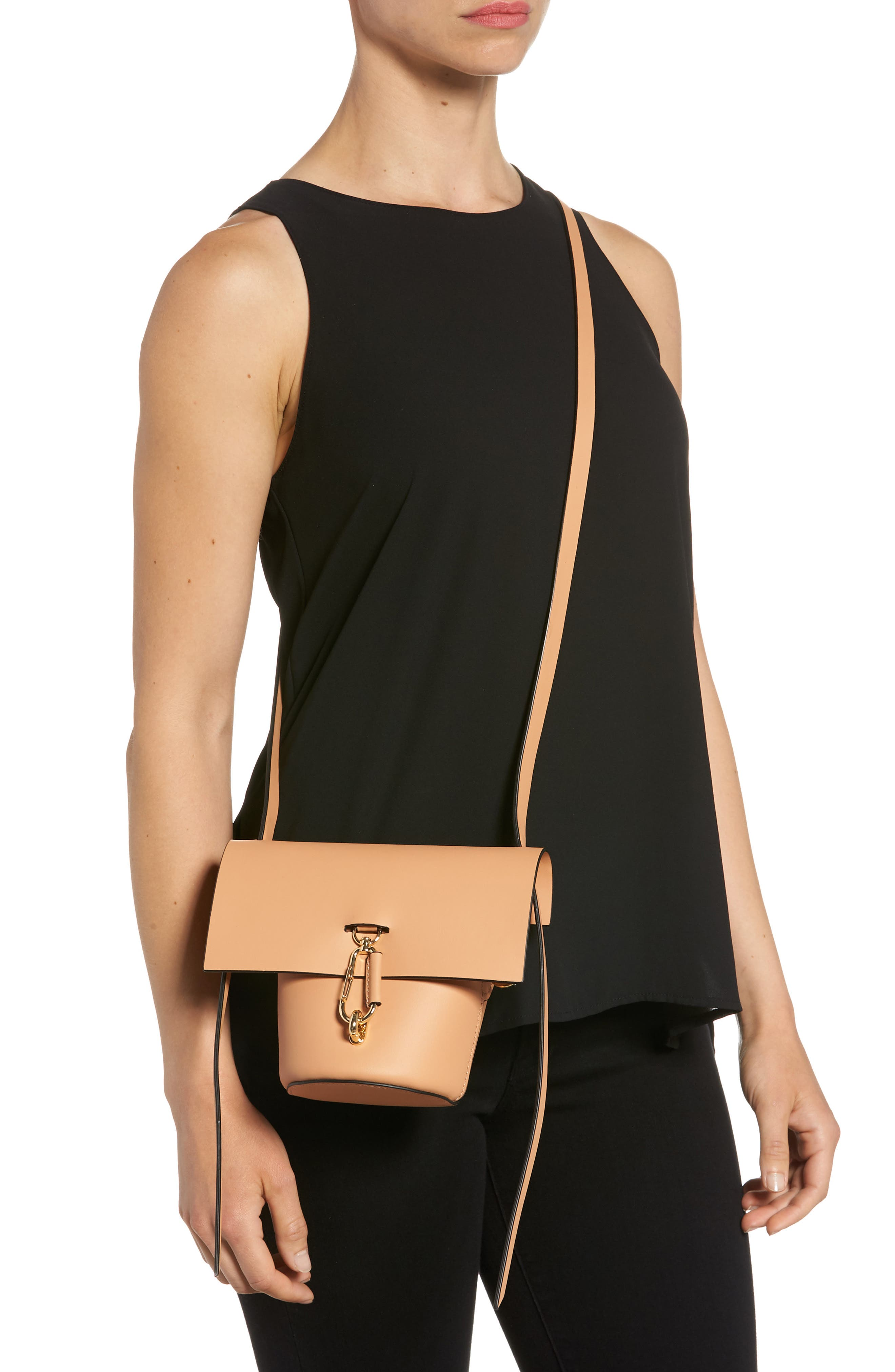 Mini Belay Calfskin Leather Crossbody Bucket Bag,                             Alternate thumbnail 2, color,                             Vachetta
