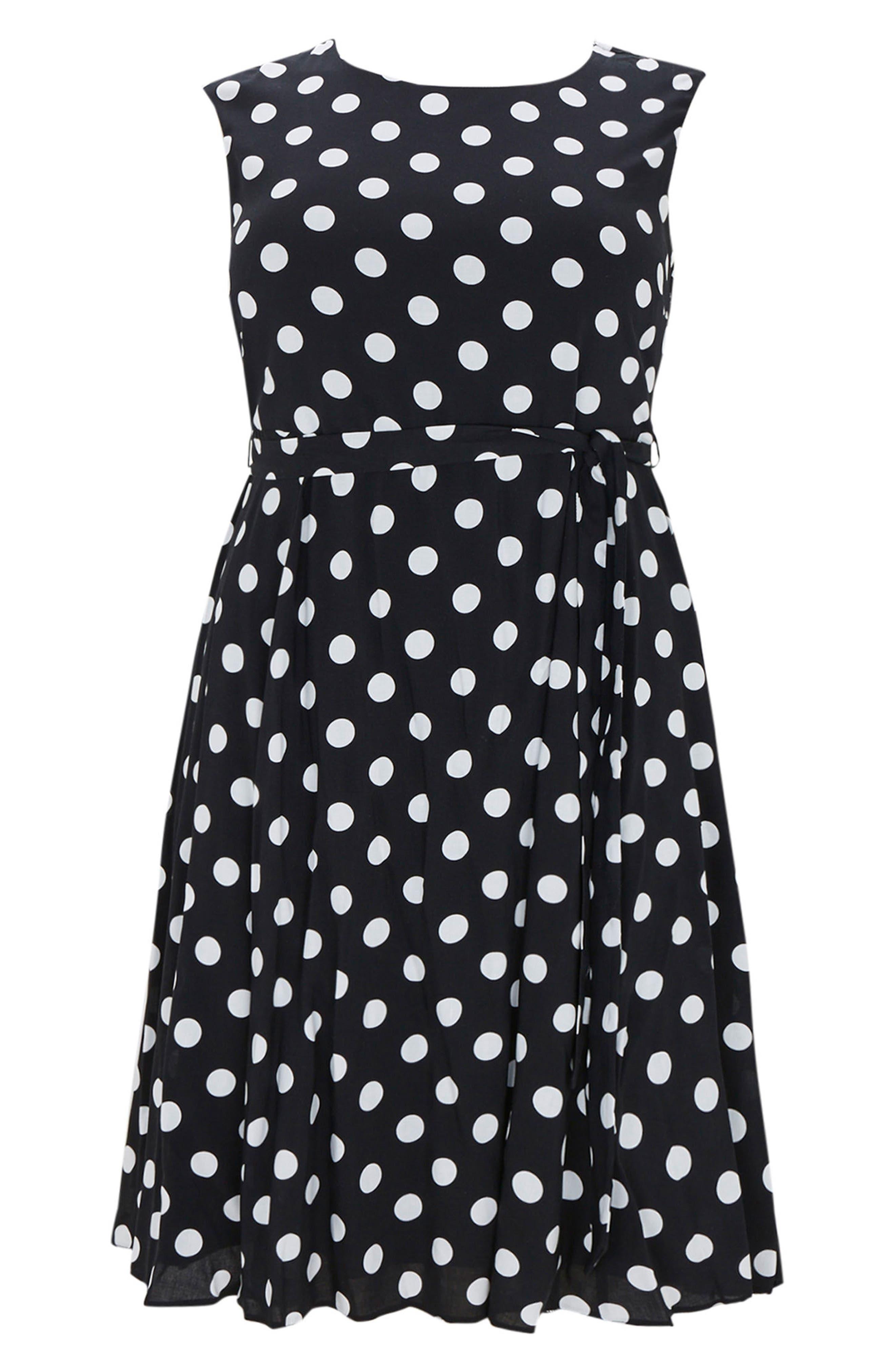 Dot Tie Waist A-Line Dress,                             Alternate thumbnail 4, color,                             Dark Multi