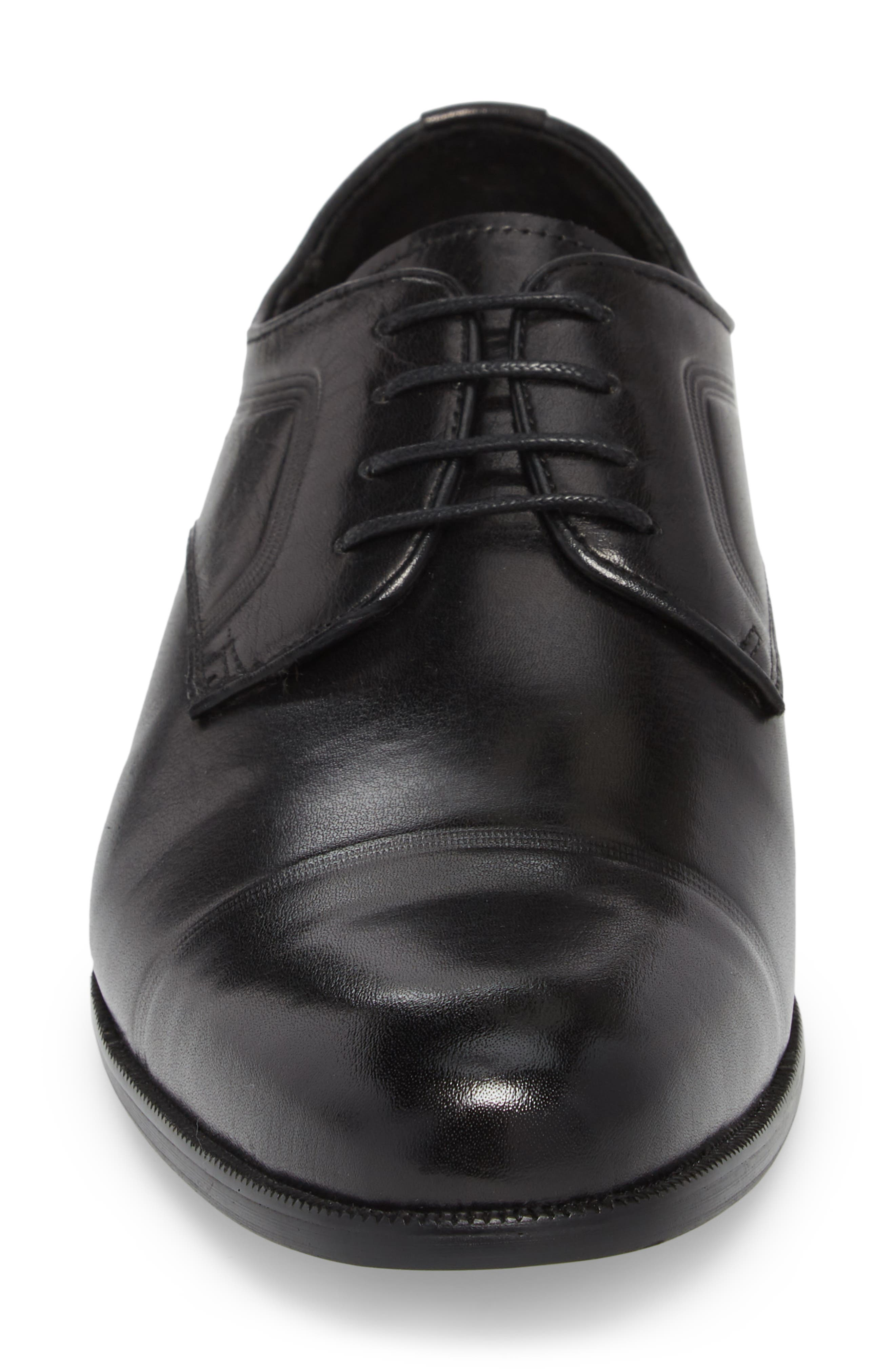 Chief Cap Toe Derby,                             Alternate thumbnail 4, color,                             Black Leather
