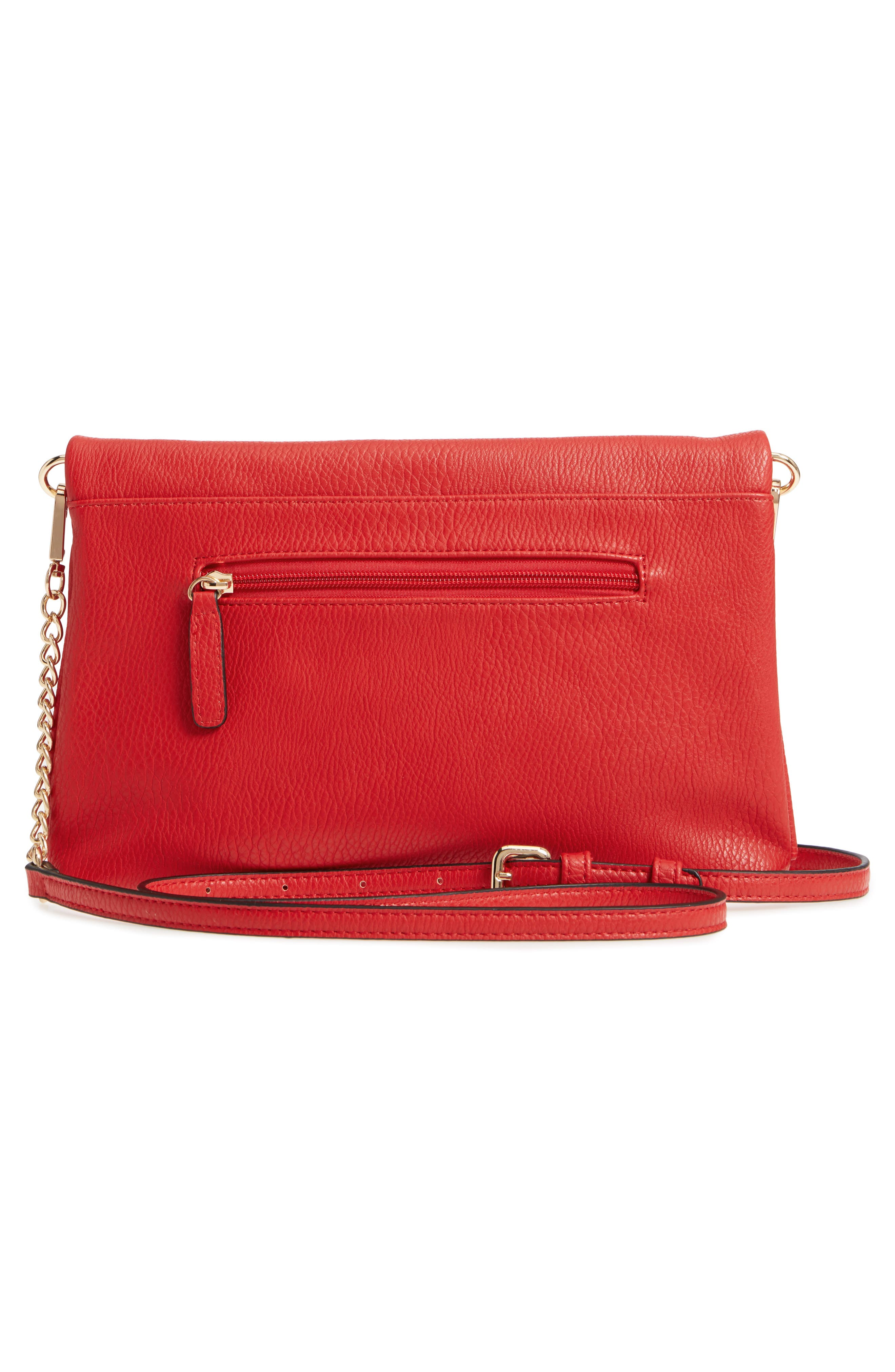Foldover Ring Clutch,                             Alternate thumbnail 3, color,                             Red