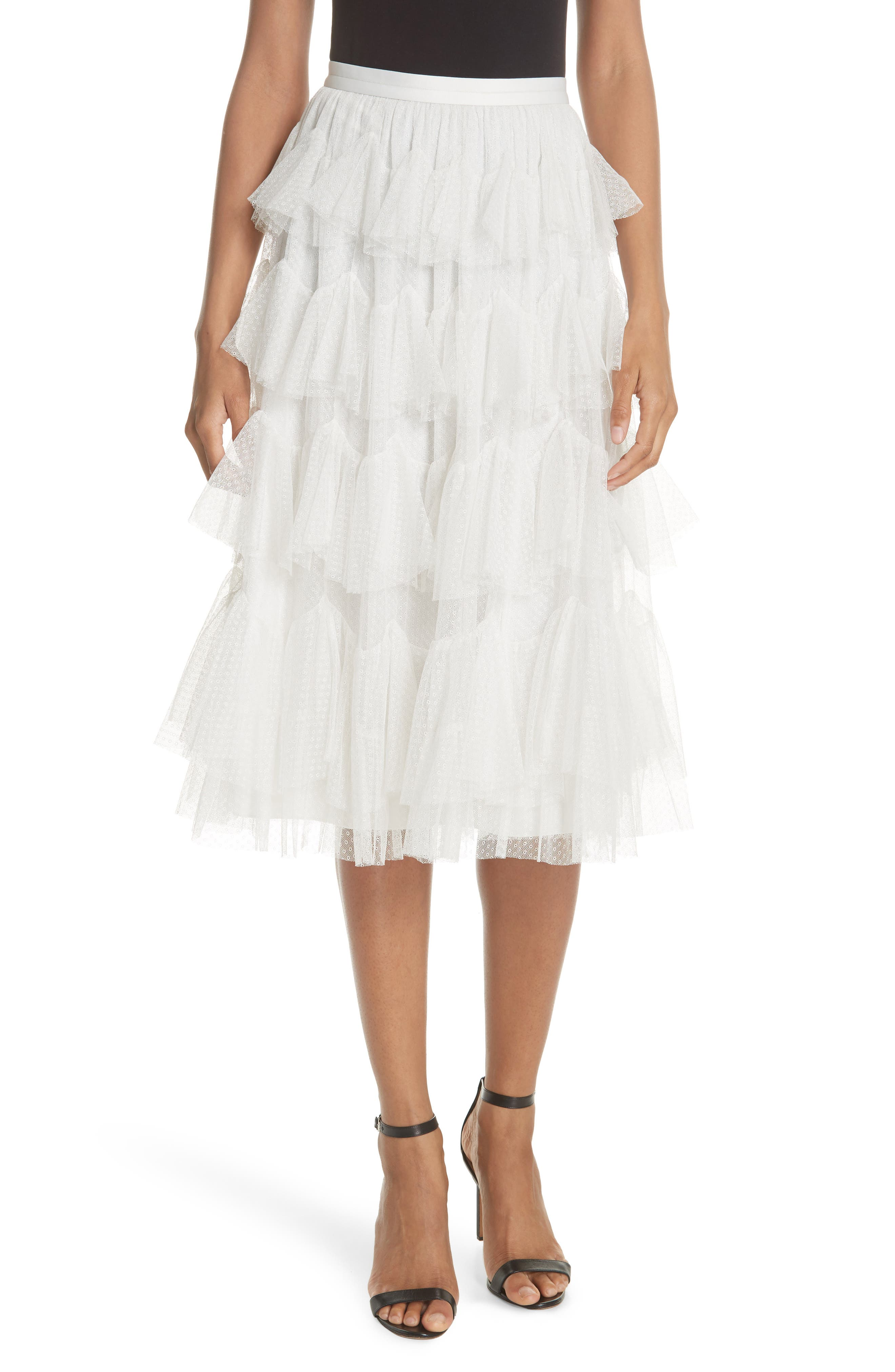 Tiered Tulle Skirt,                         Main,                         color, Pearl