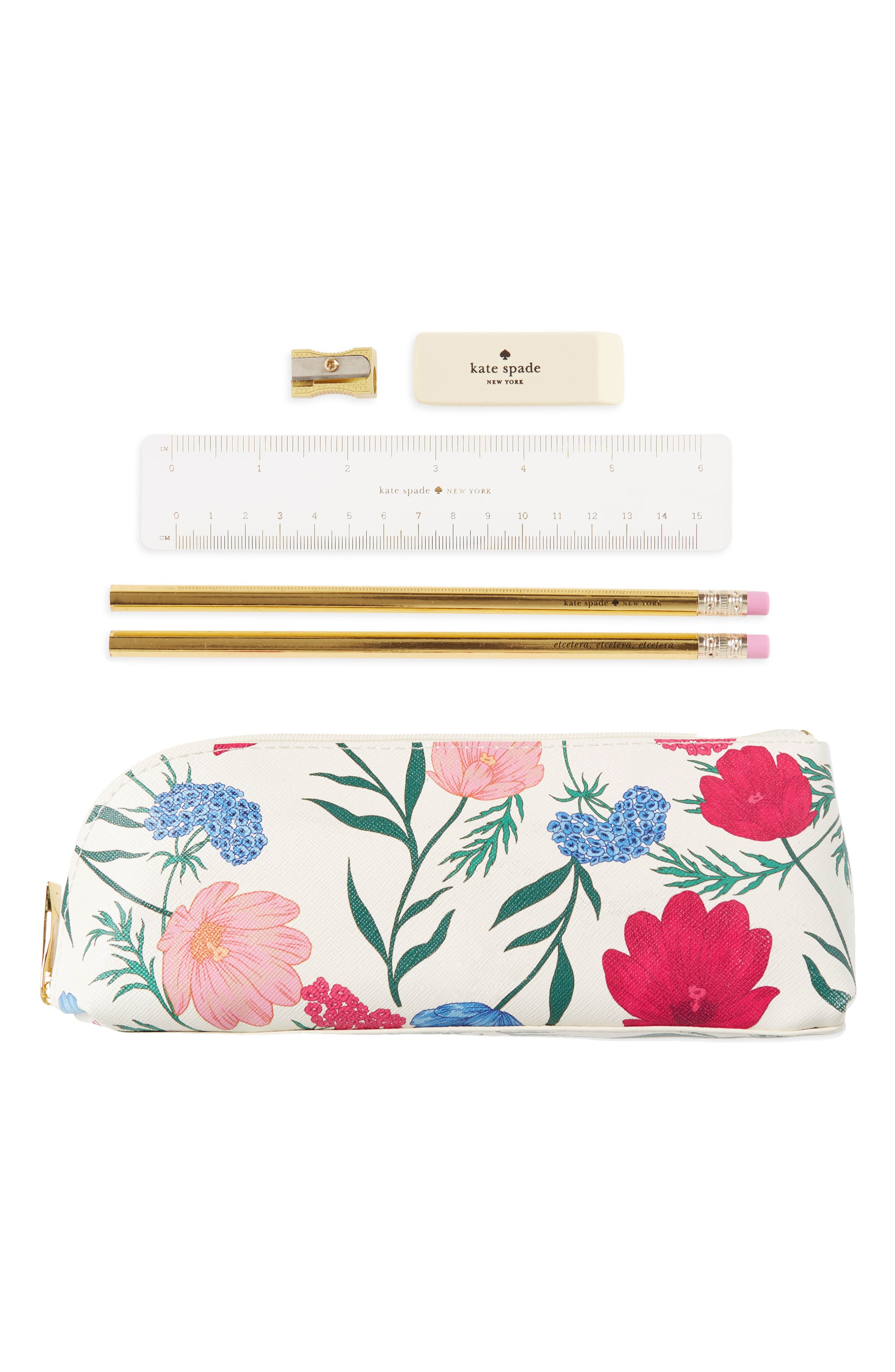 blossom faux leather pencil case,                             Main thumbnail 1, color,                             Blossom