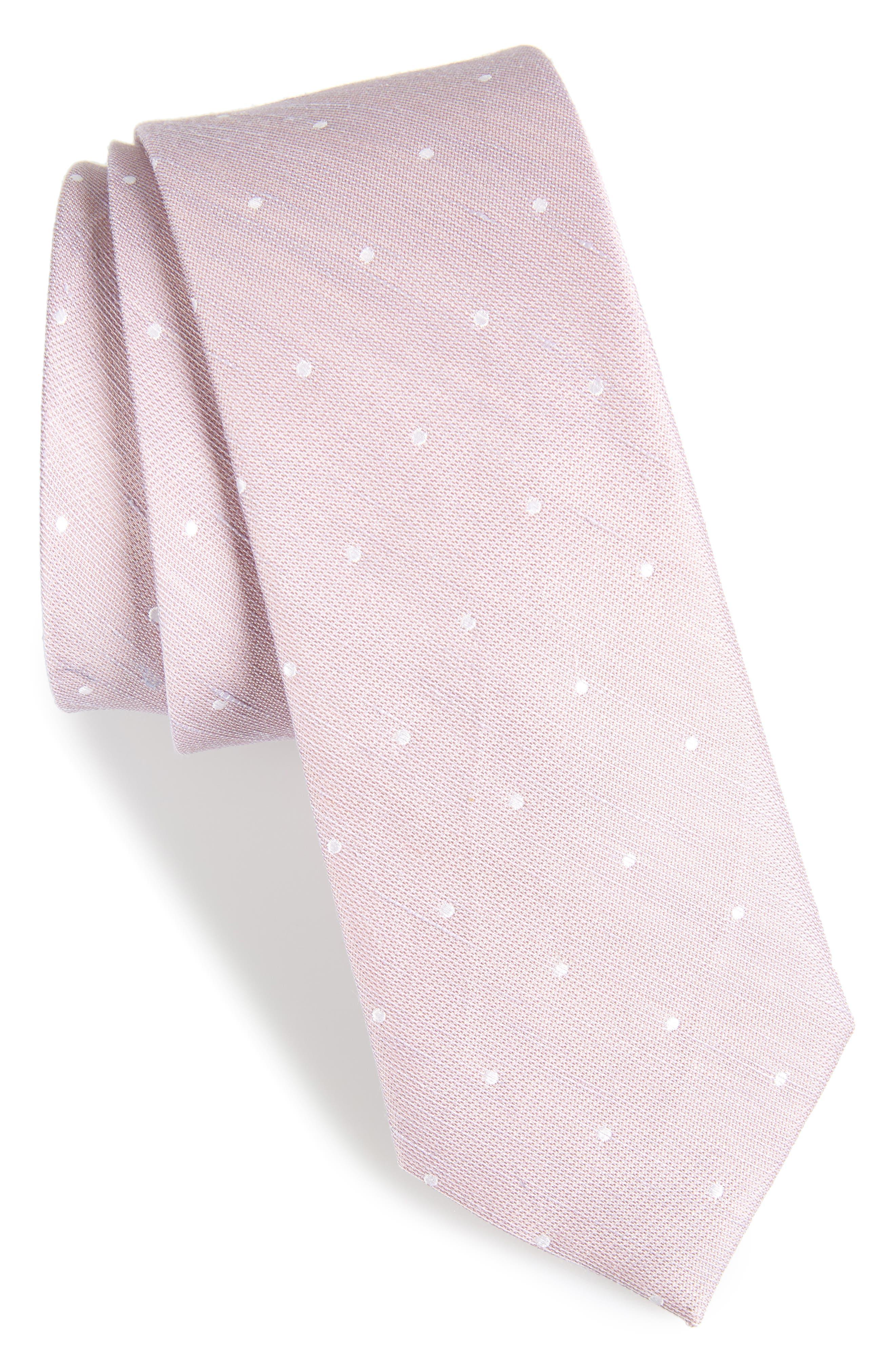 The Tie Bar Bulletin Dot Silk & Linen Tie
