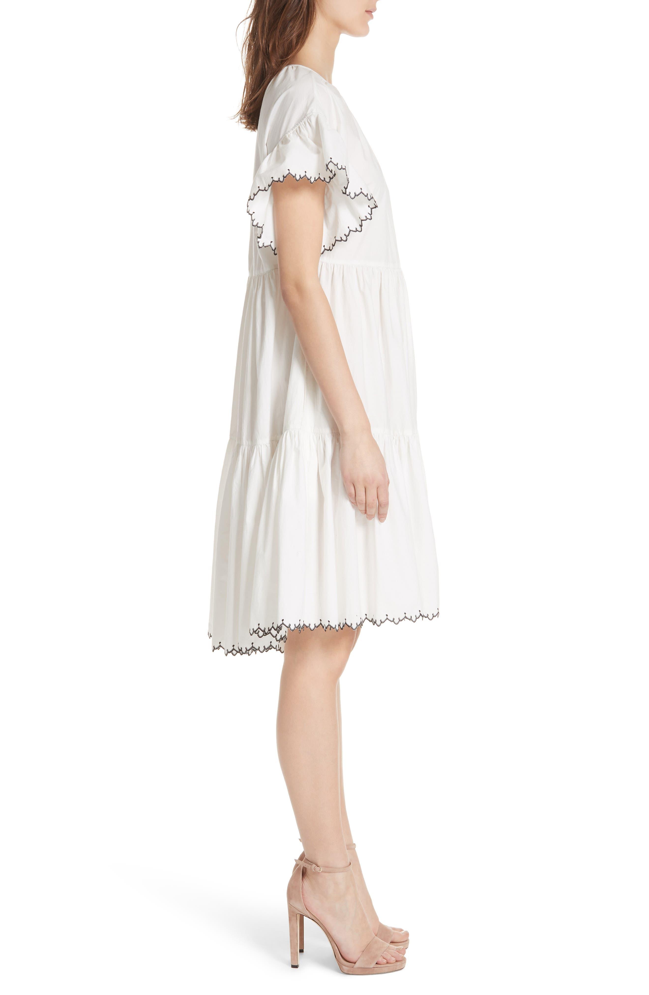 Rosemarie Cotton Poplin Dress,                             Alternate thumbnail 3, color,                             Blanc