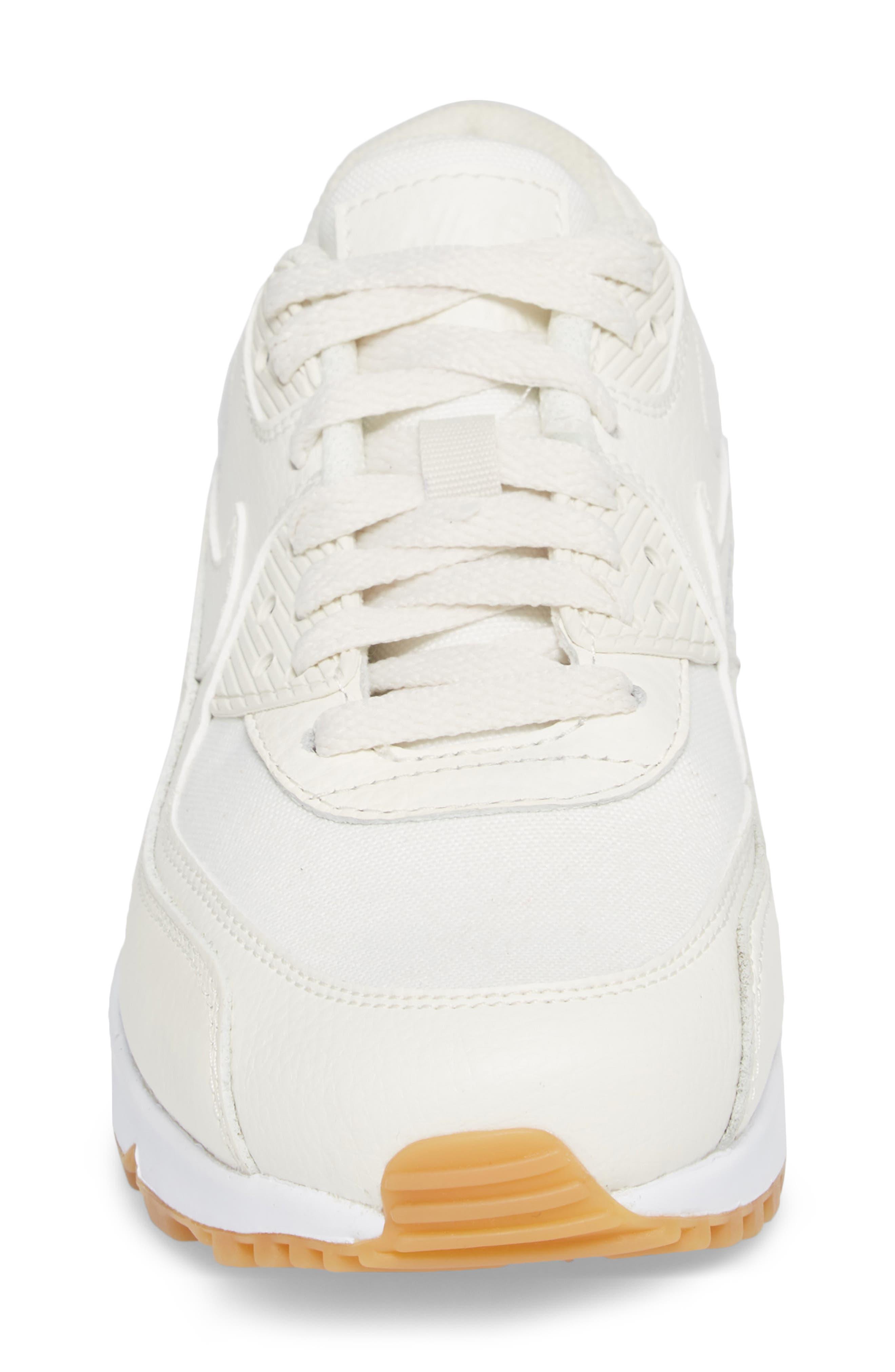Air Max 90 Premium Sneaker,                             Alternate thumbnail 4, color,                             Sail/ Light Brown/ White