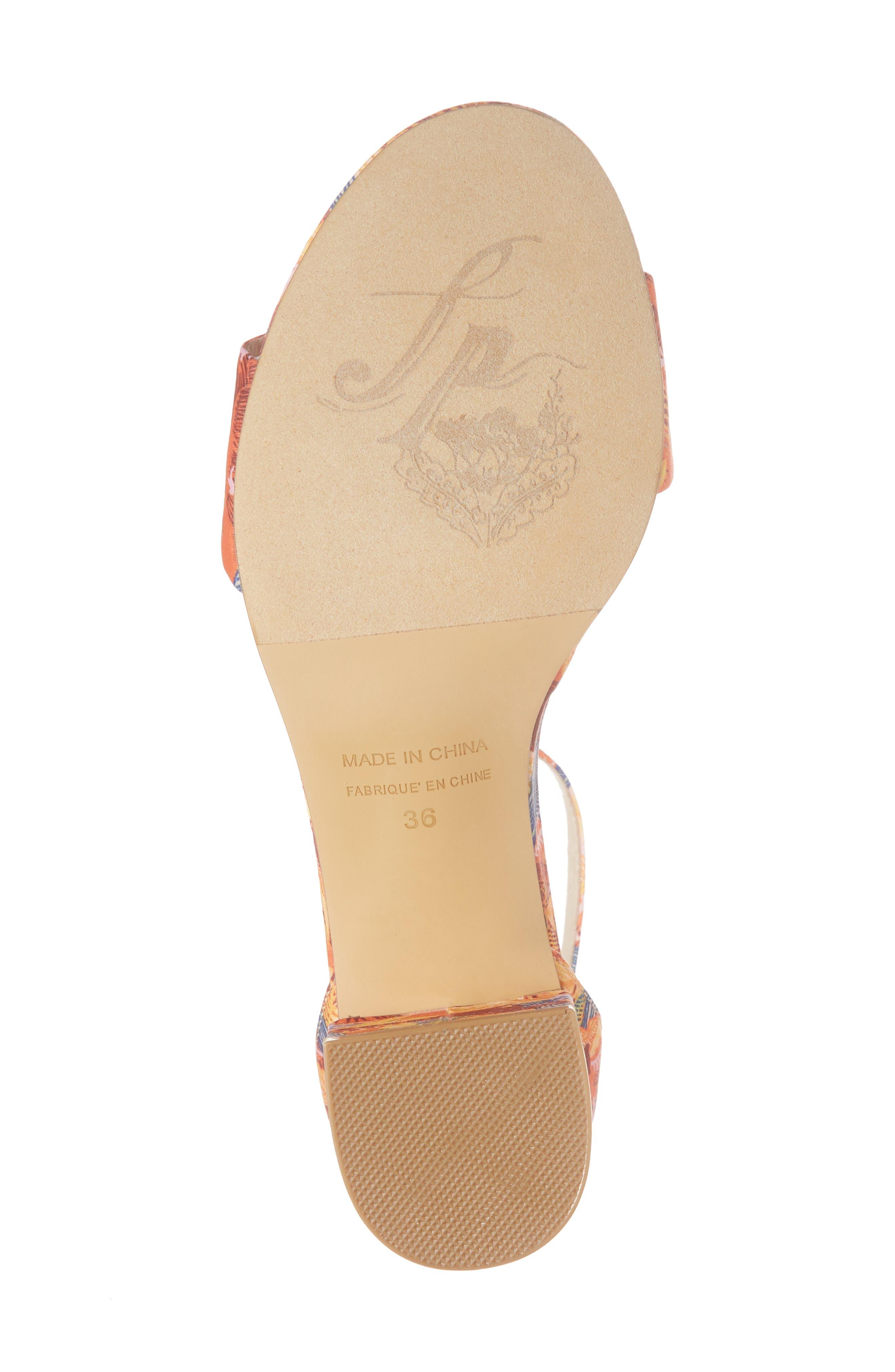 Marigold Block Heel Sandal,                             Alternate thumbnail 6, color,                             Orange Combo