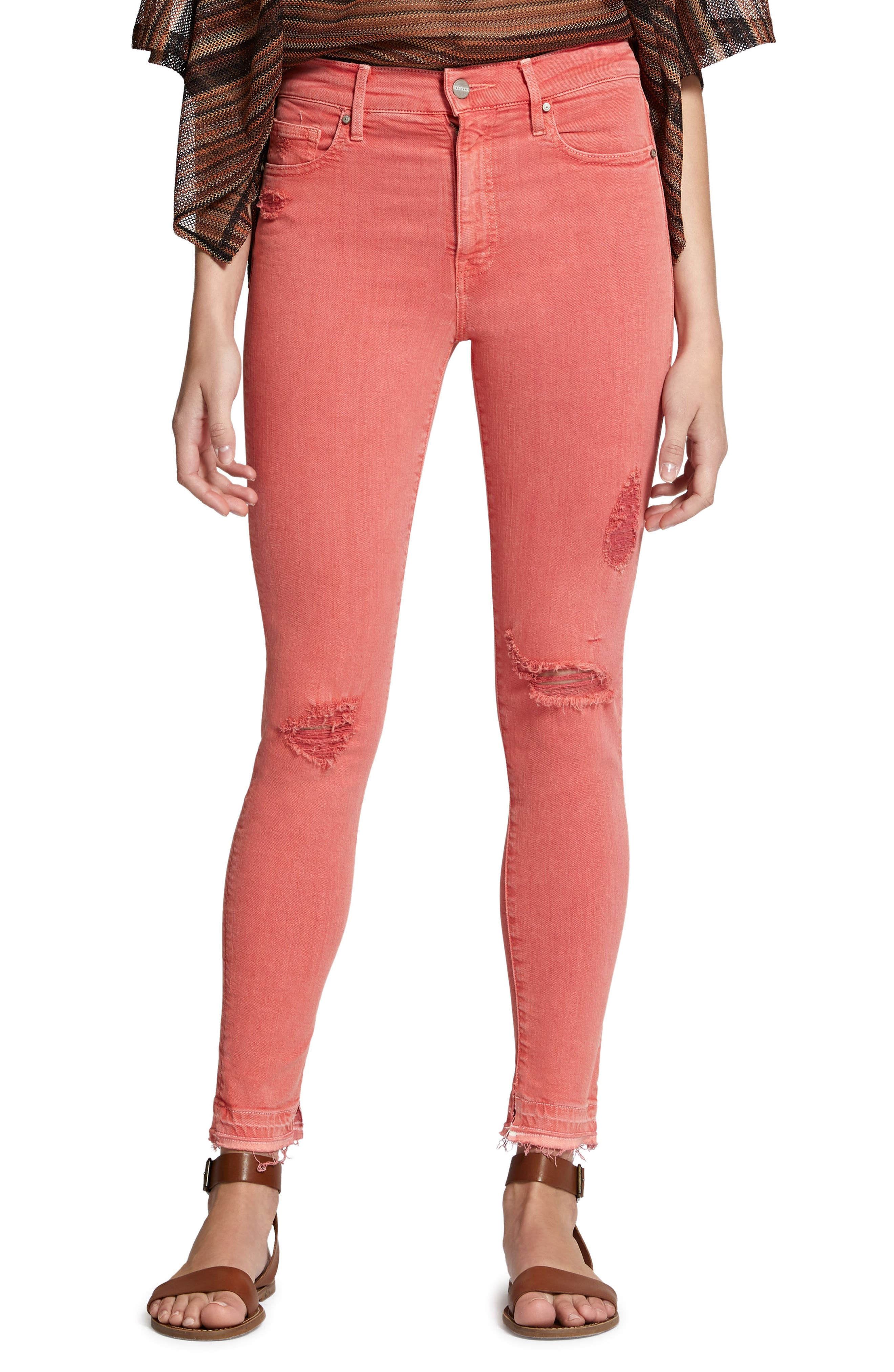 Robbie High Waist Ankle Jeans,                             Main thumbnail 1, color,                             Chili Wash