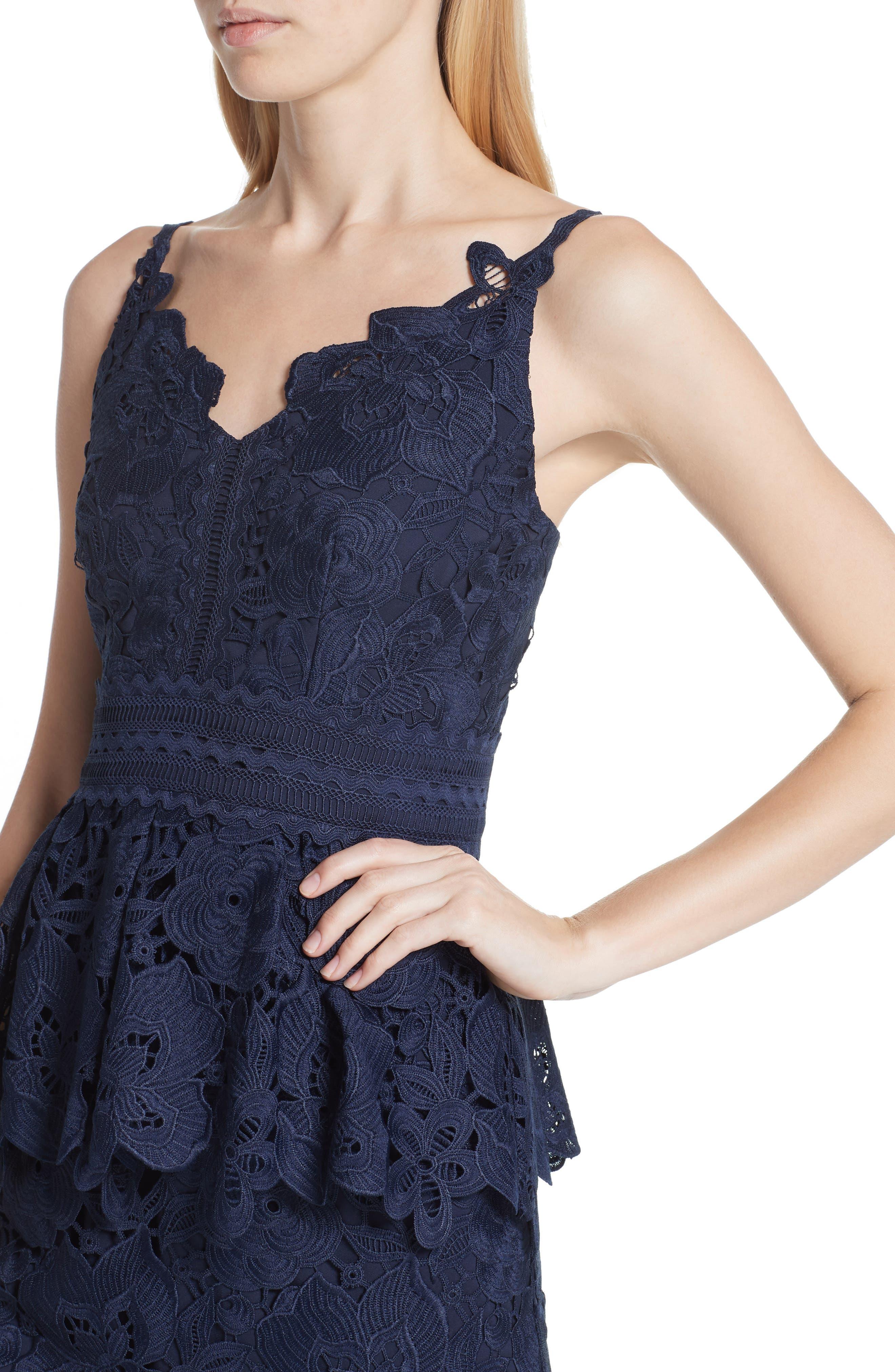 Lace Peplum Dress,                             Alternate thumbnail 4, color,                             Navy