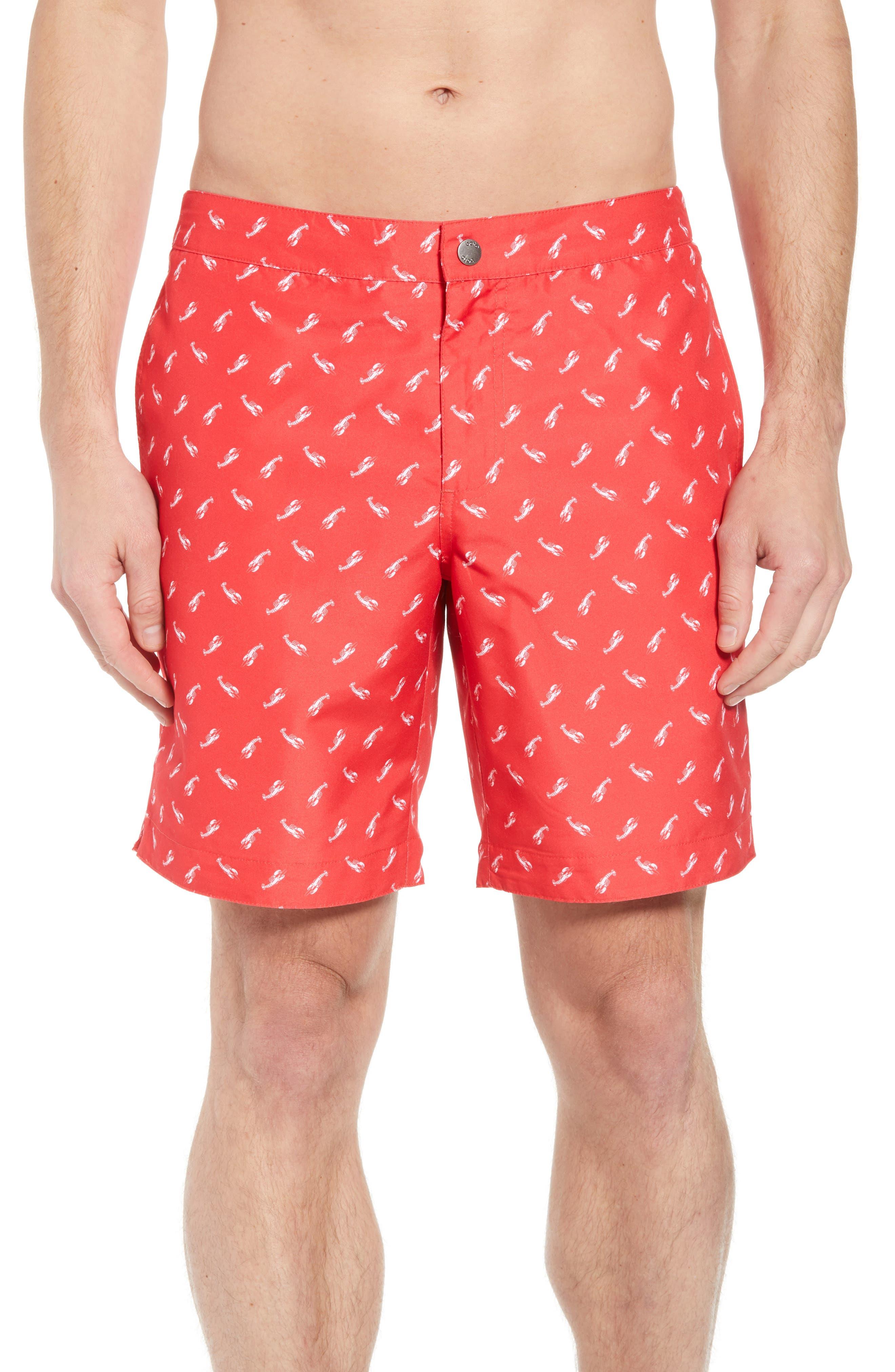 Aruba Slim Fit Swim Trunks,                         Main,                         color, Red Lobsters Print
