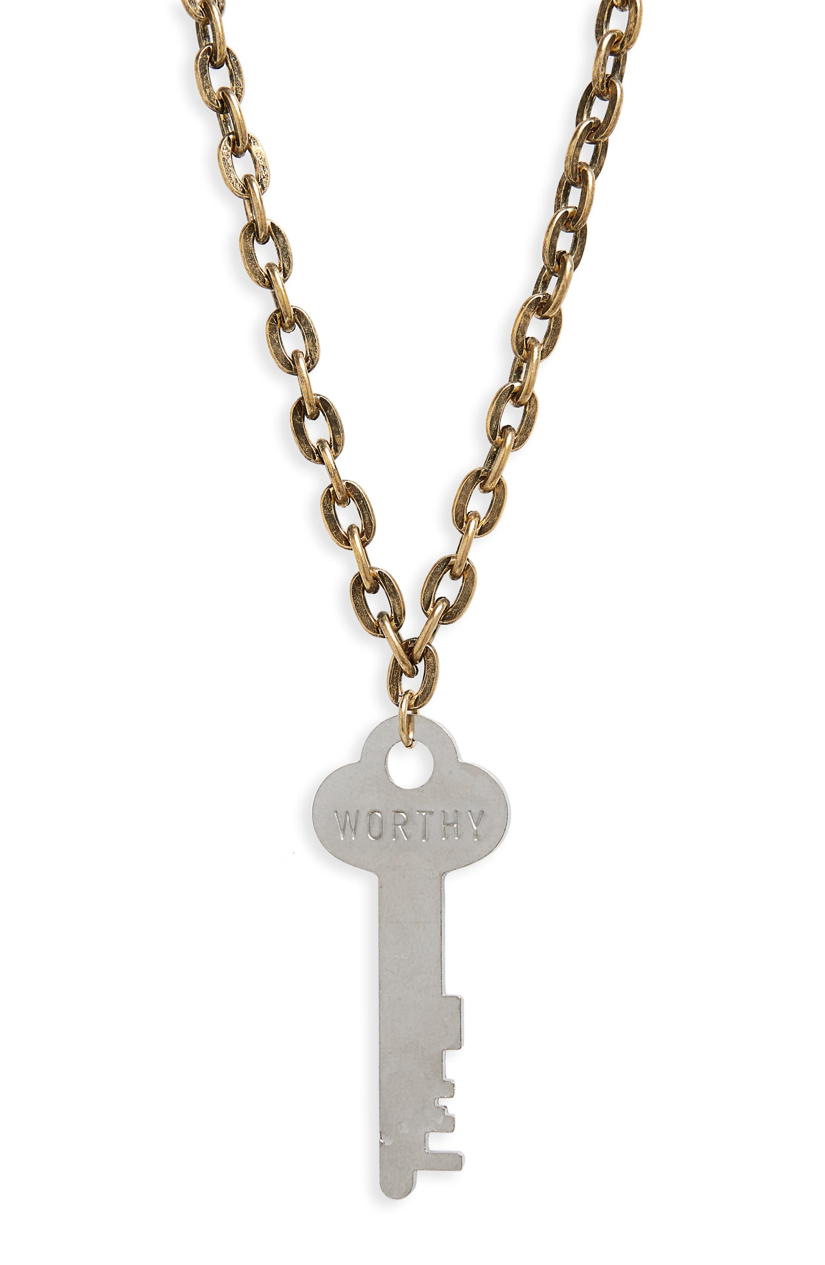 I Am Worthy Key Charm Necklace,                             Alternate thumbnail 3, color,                             Gold/ Silver Key