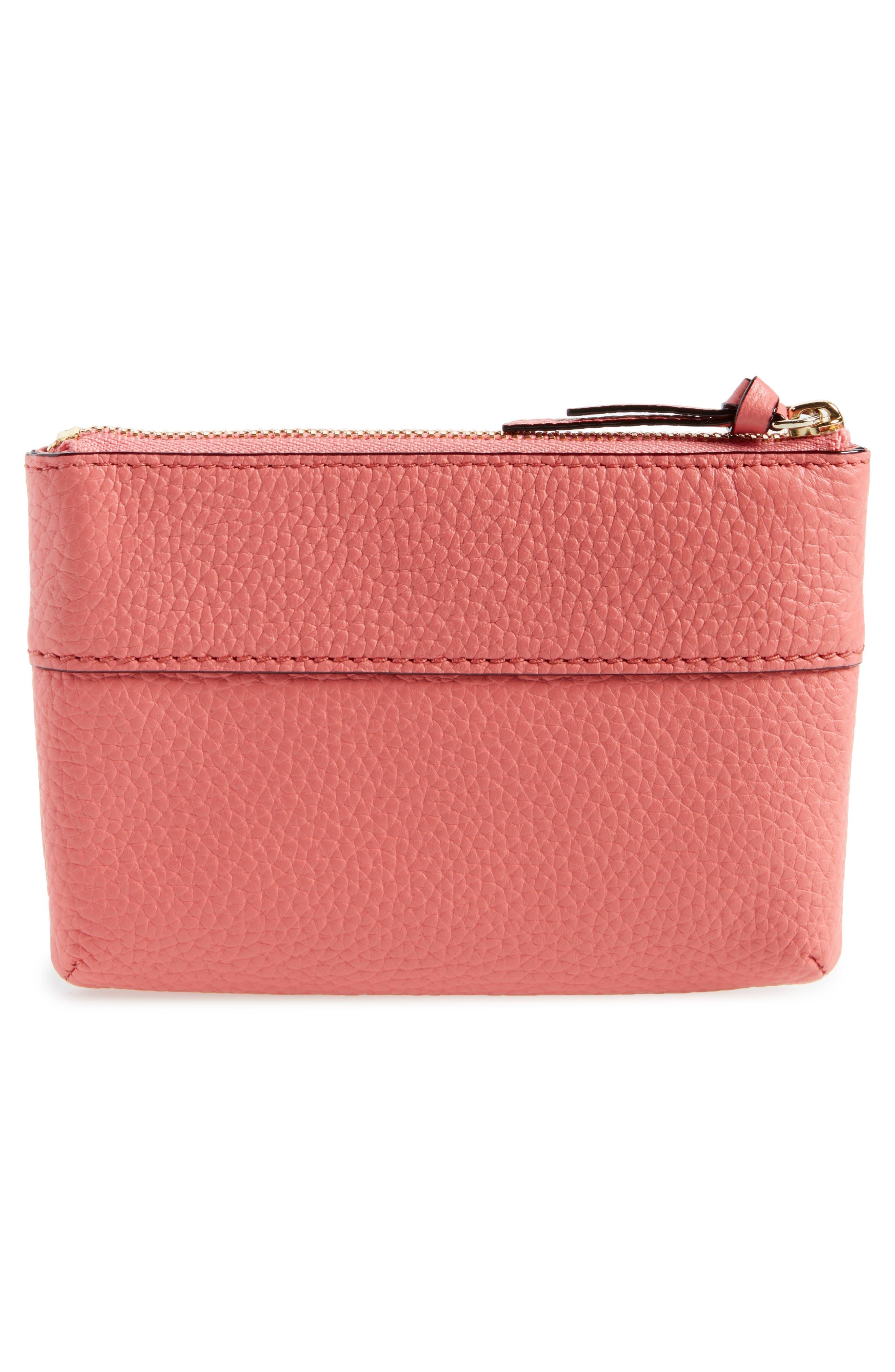 jackson street mila leather zip pouch,                             Alternate thumbnail 3, color,                             Coral Pebble