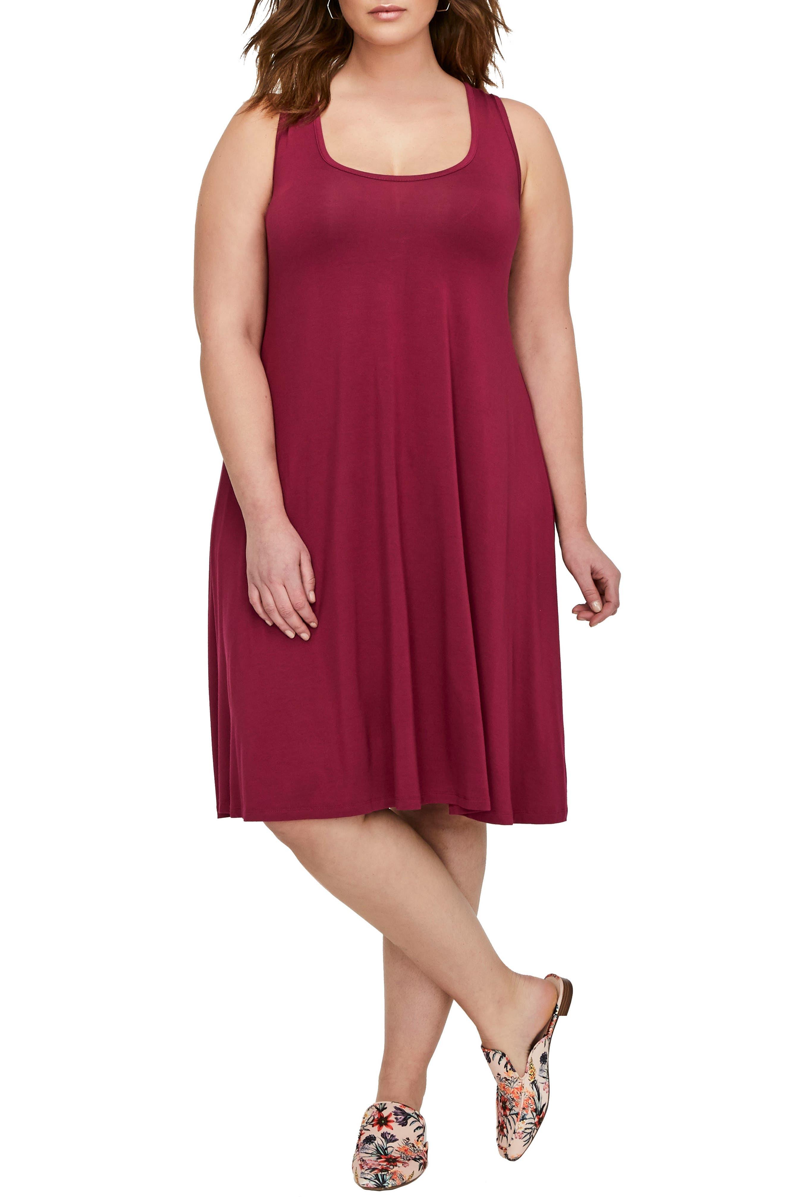 Tank Dress,                         Main,                         color, Red Plum