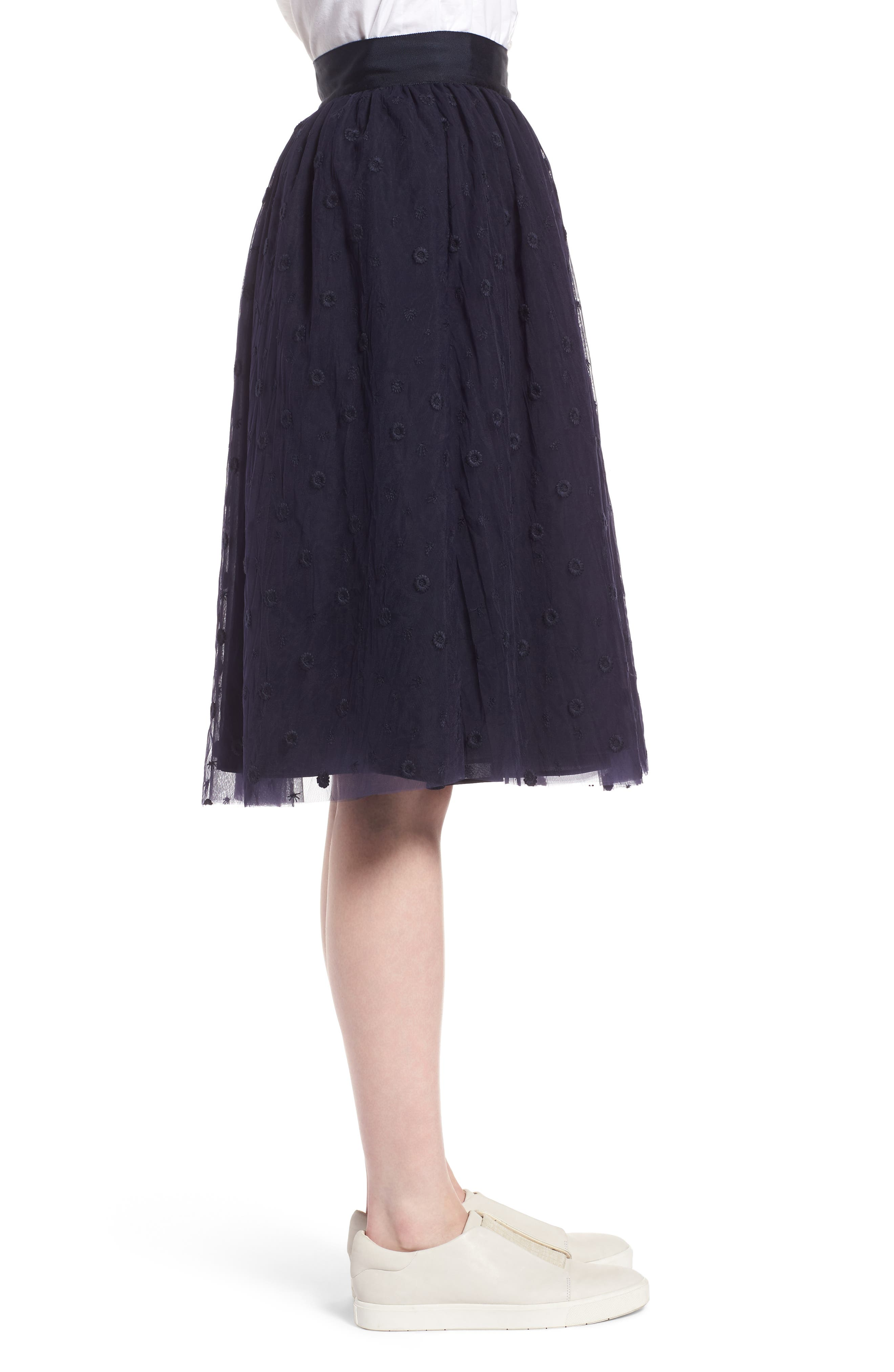 Embroidered Tulle Skirt,                             Alternate thumbnail 3, color,                             Navy Night