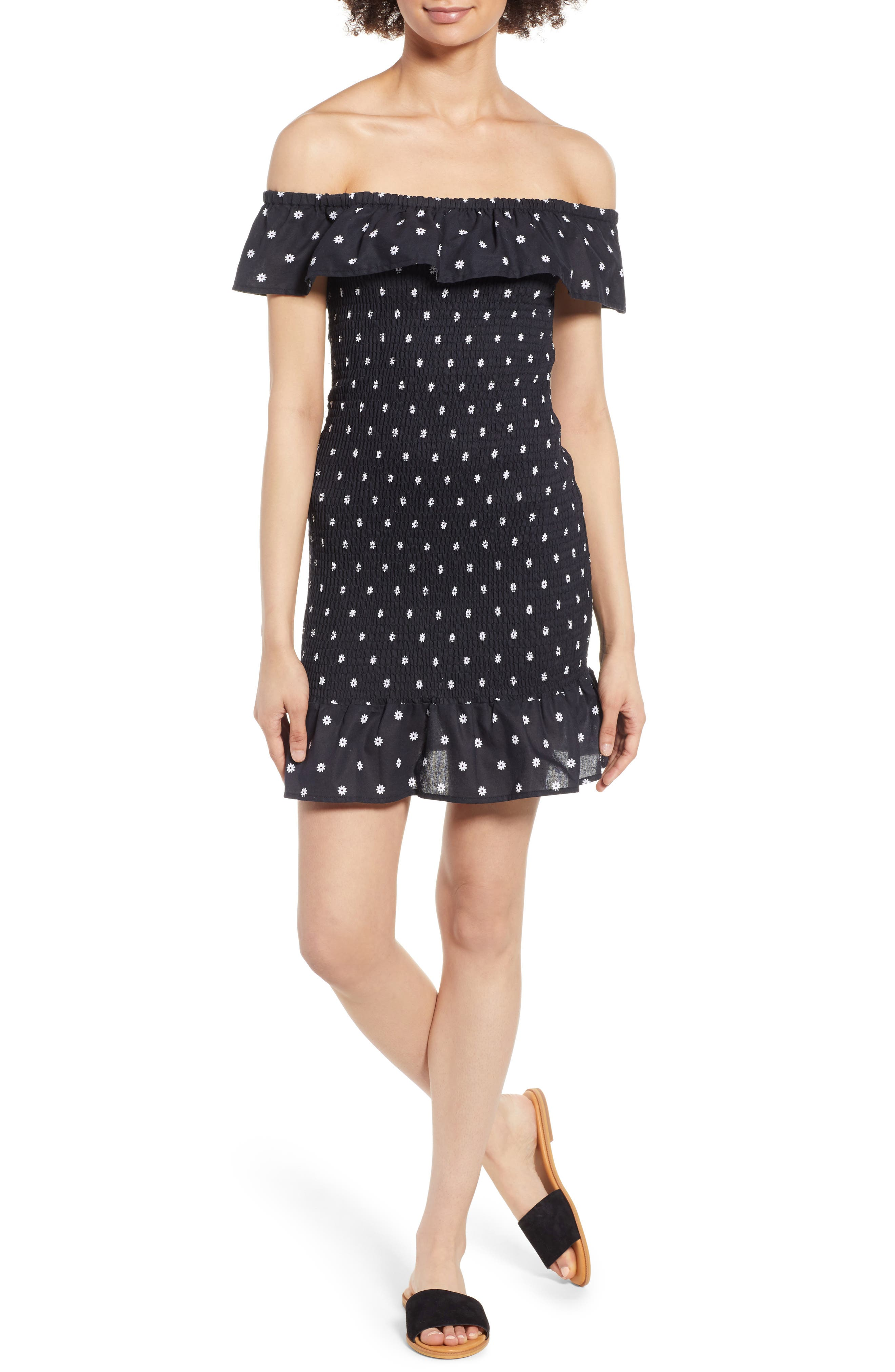 Fiesta Daisy Print Smocked Off the Shoulder Dress,                         Main,                         color, Black With White Daisy