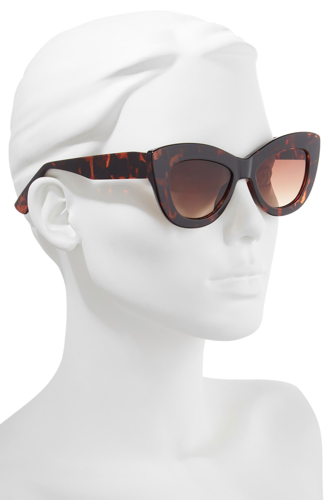 65mm Cat Eye Sunglasses,                             Alternate thumbnail 2, color,                             Tort/ Brown