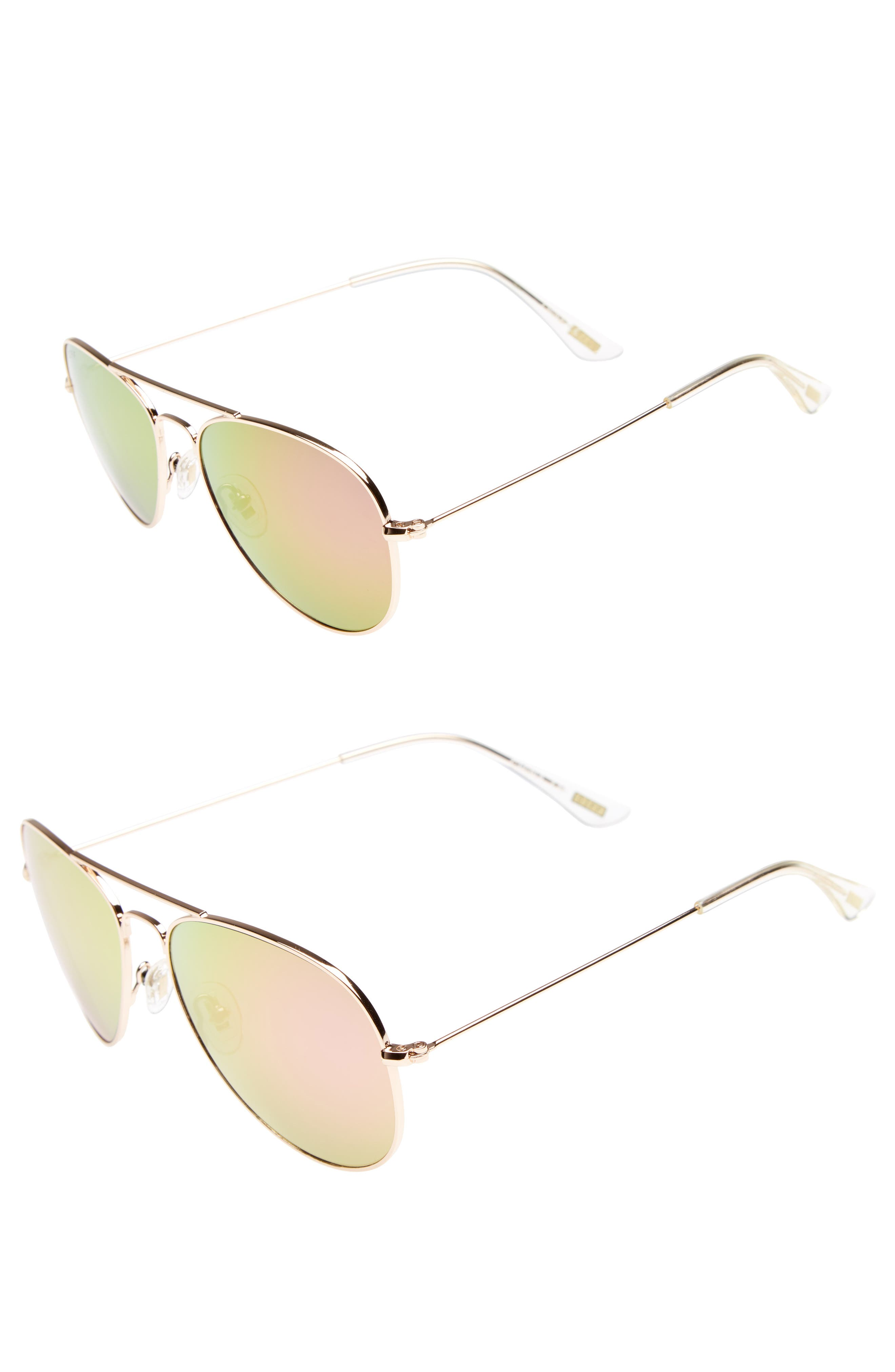 Mommy & Me Cruz 2-Pack Aviator Sunglasses,                             Alternate thumbnail 3, color,                             Gold/ Pink