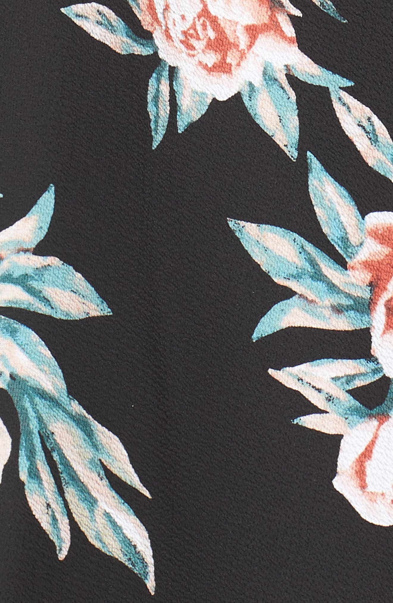 Ruffle Sleeve Floral Maxi Dress,                             Alternate thumbnail 3, color,                             Black Floral