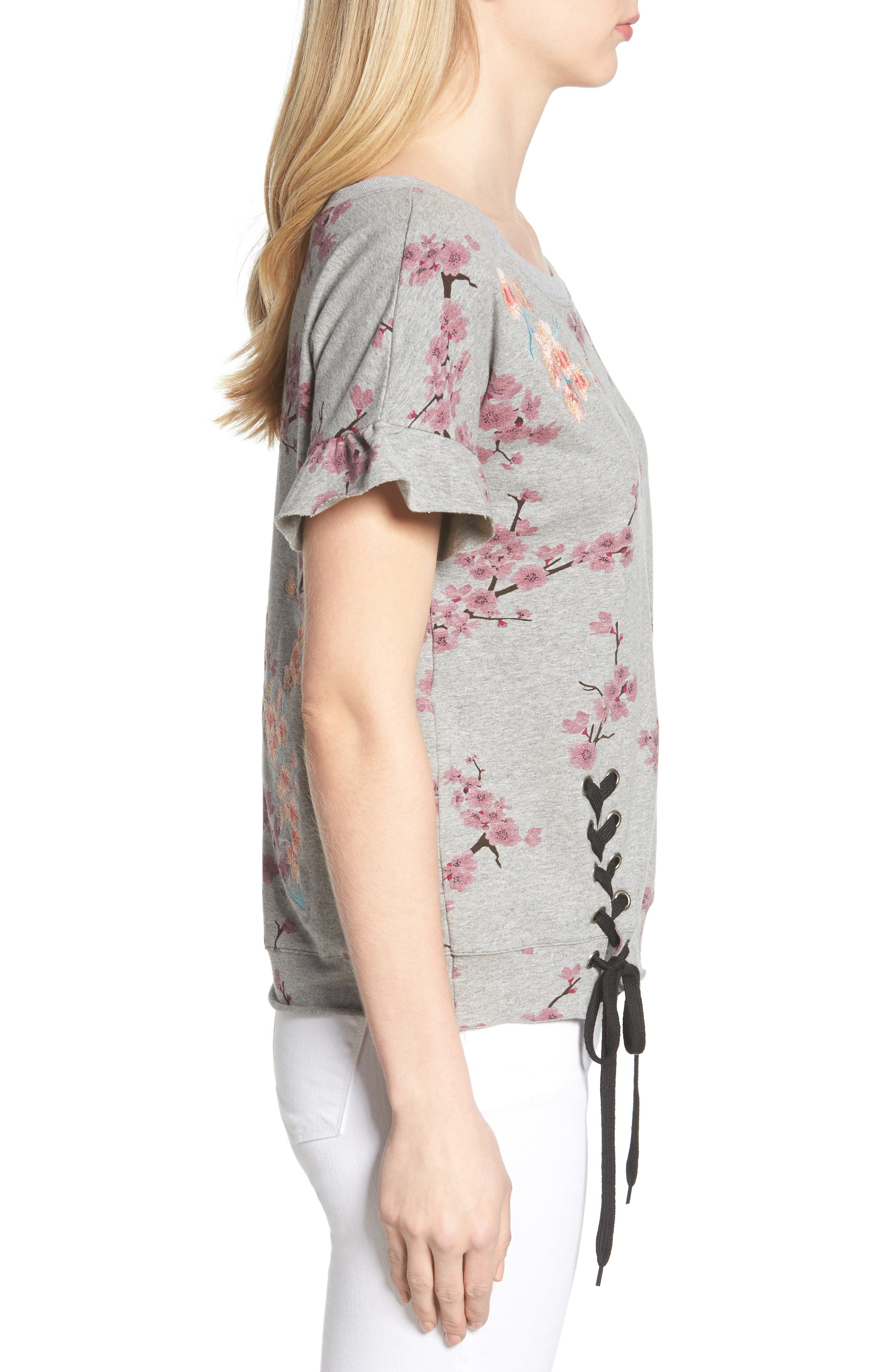 Short Sleeve Lace Up Cherry Blossom Sweatshirt,                             Alternate thumbnail 3, color,                             Grey Cherry Blossom