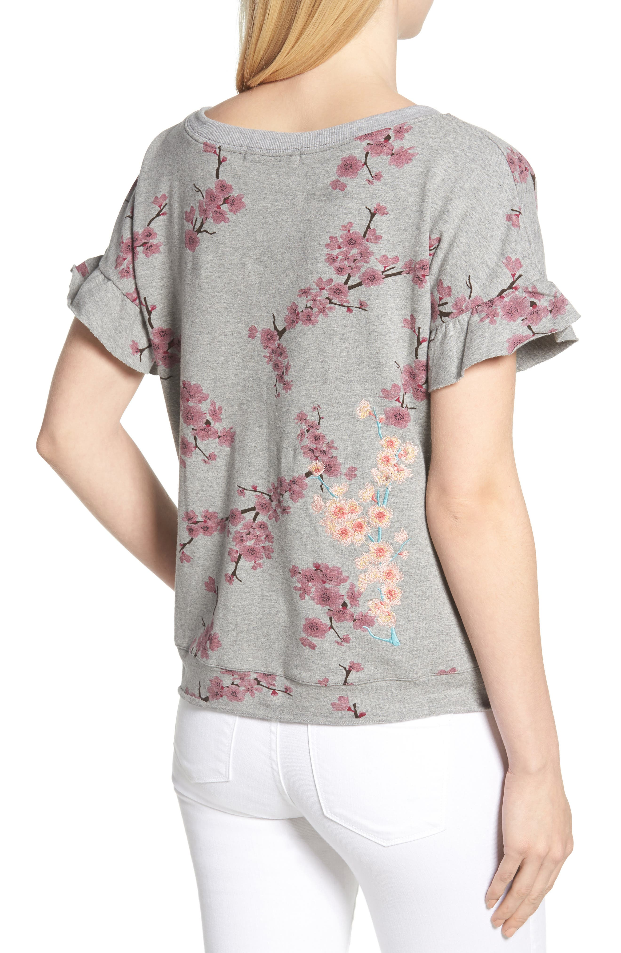 Short Sleeve Lace Up Cherry Blossom Sweatshirt,                             Alternate thumbnail 2, color,                             Grey Cherry Blossom