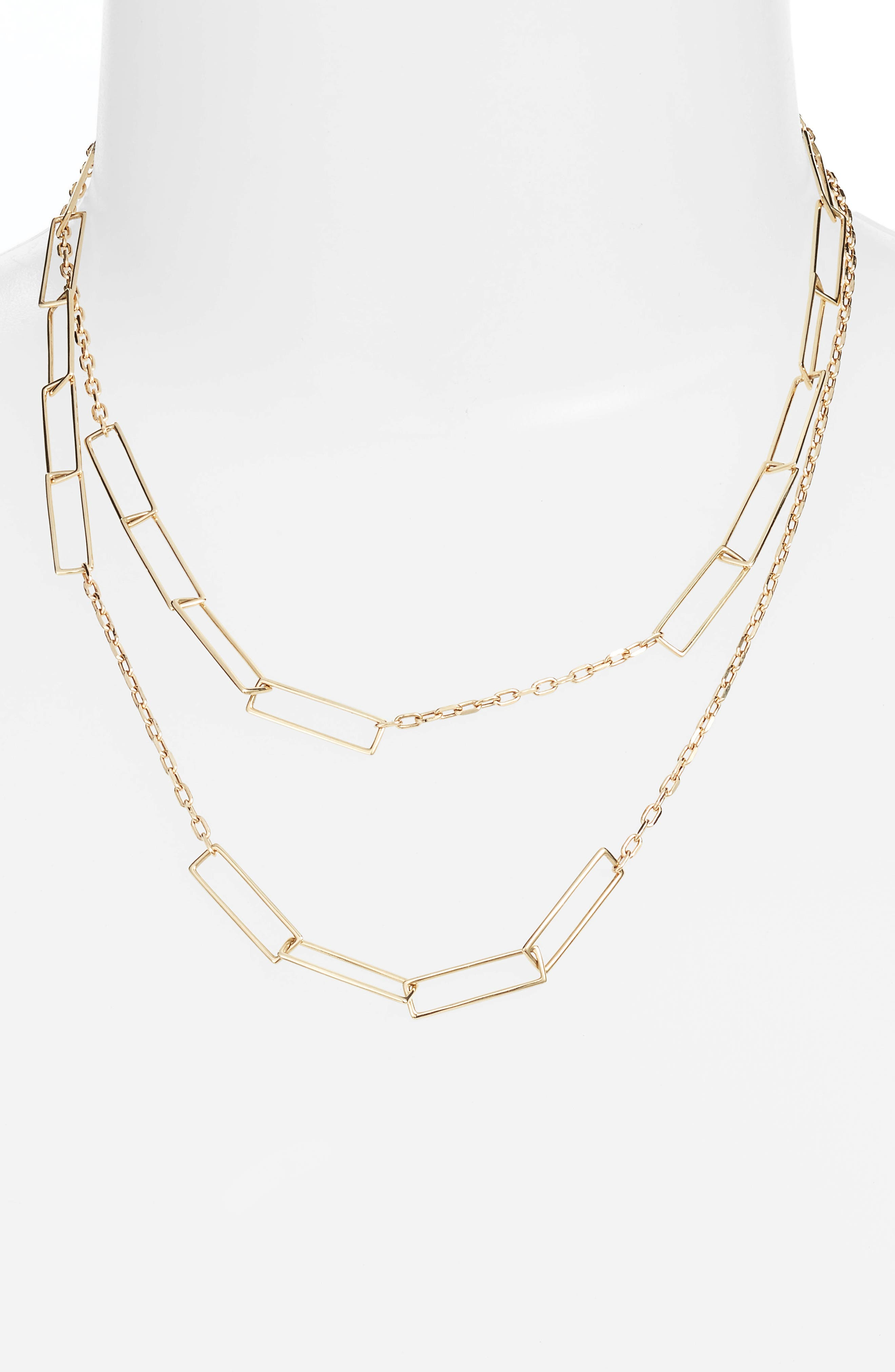Long Link Chain Necklace,                             Alternate thumbnail 3, color,                             Yellow Gold