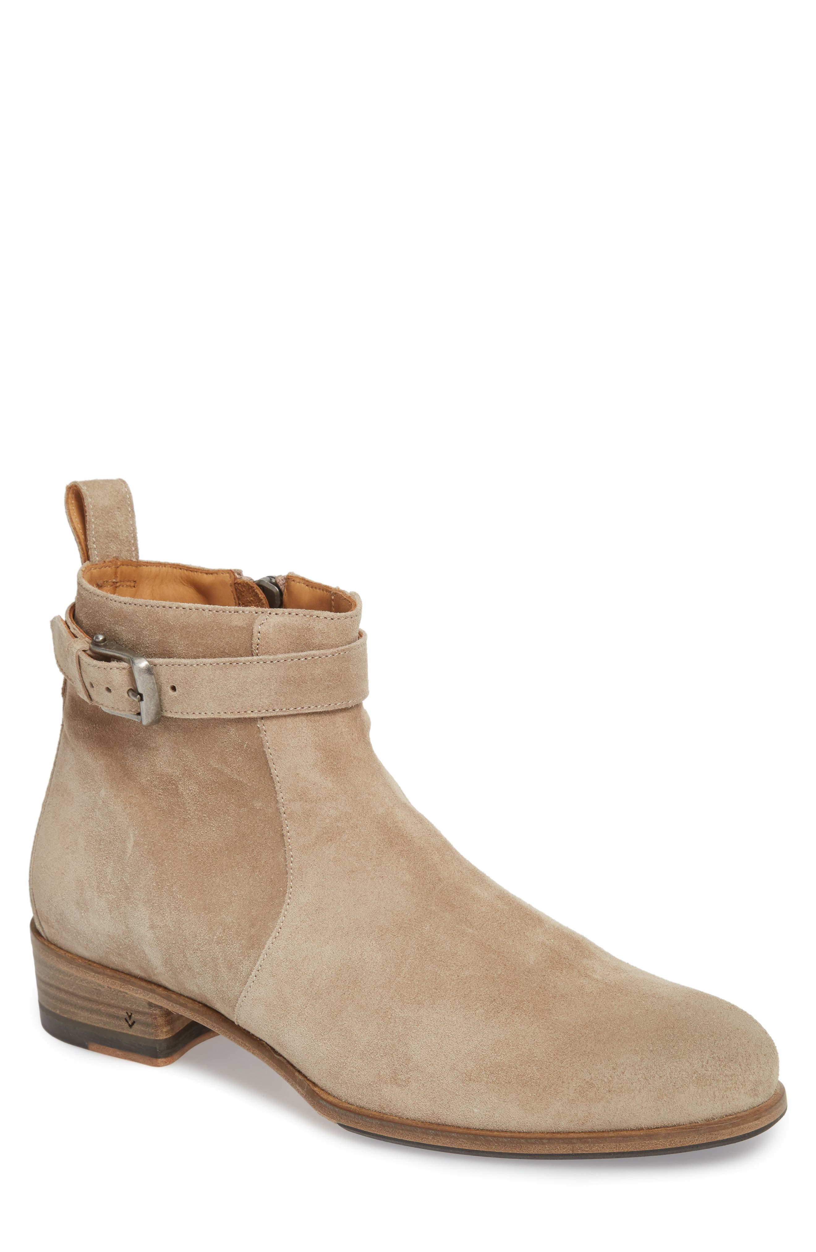 John Varvatos Lafayette Buckle Boot,                         Main,                         color, Twine Suede