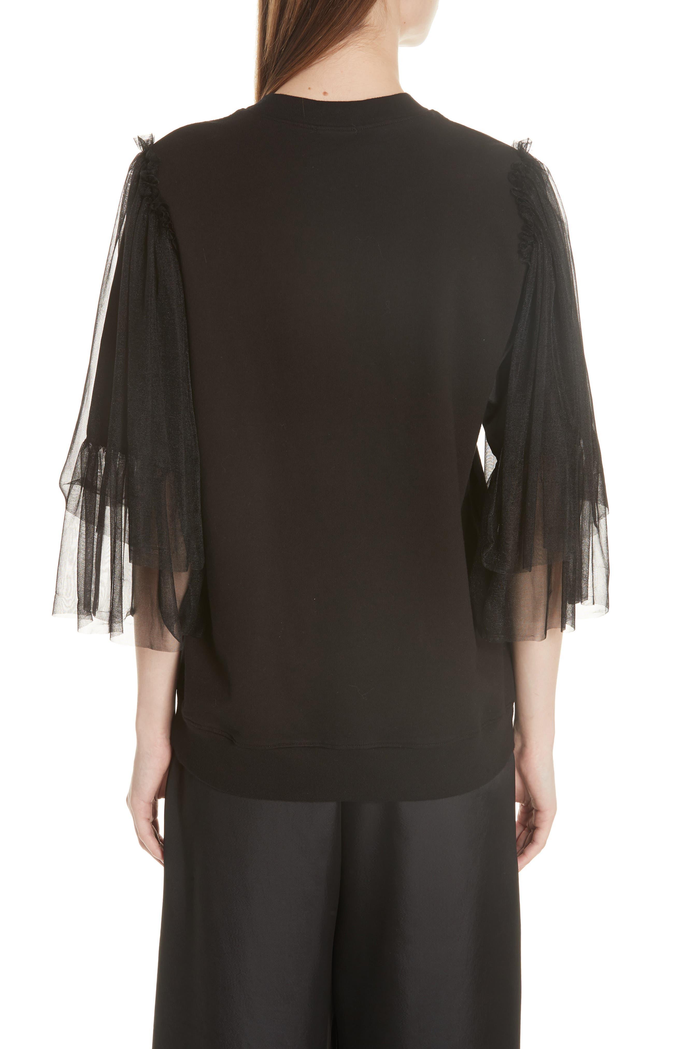 Tulle Sleeve Sweatshirt,                             Alternate thumbnail 2, color,                             Black