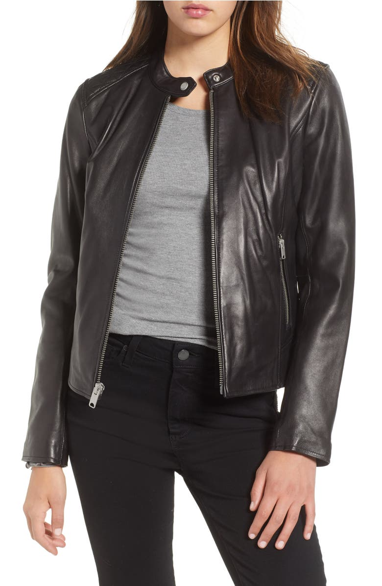Andrew Marc Stand Collar Quilted Shoulder Leather Moto Jacket Black