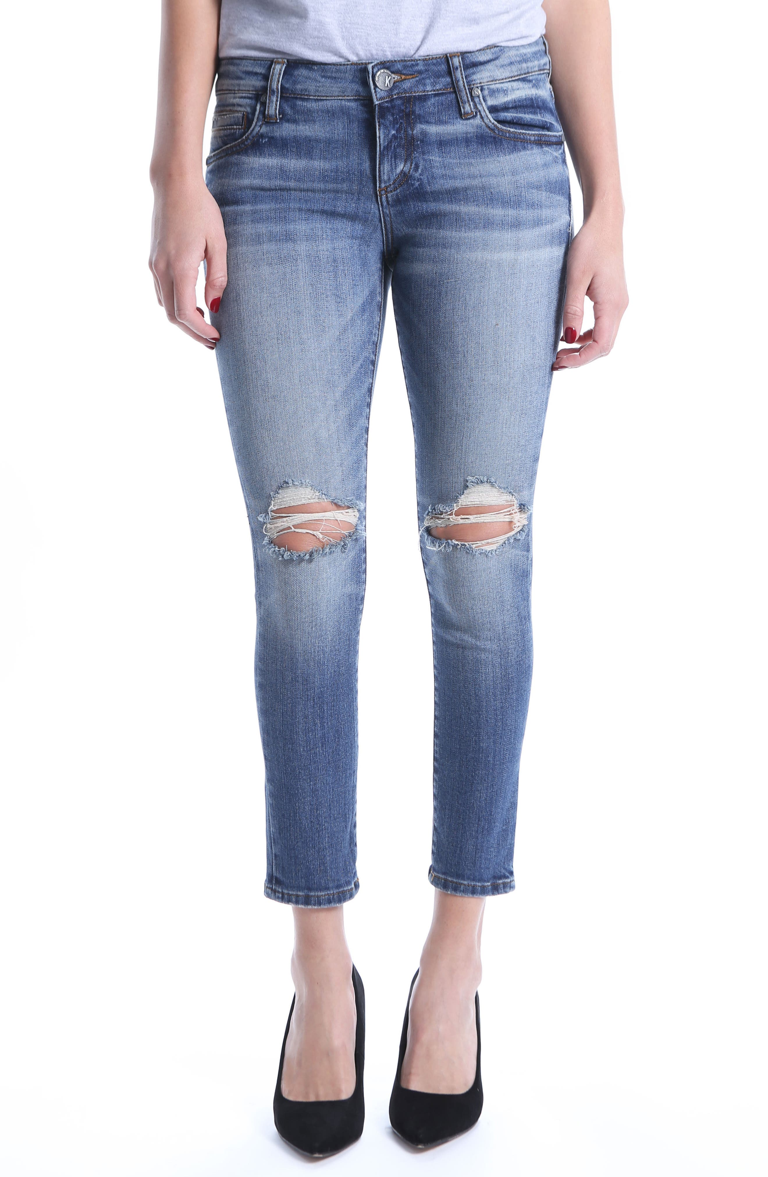 Catherine Ripped Straight Leg Ankle Jeans,                         Main,                         color, Increase