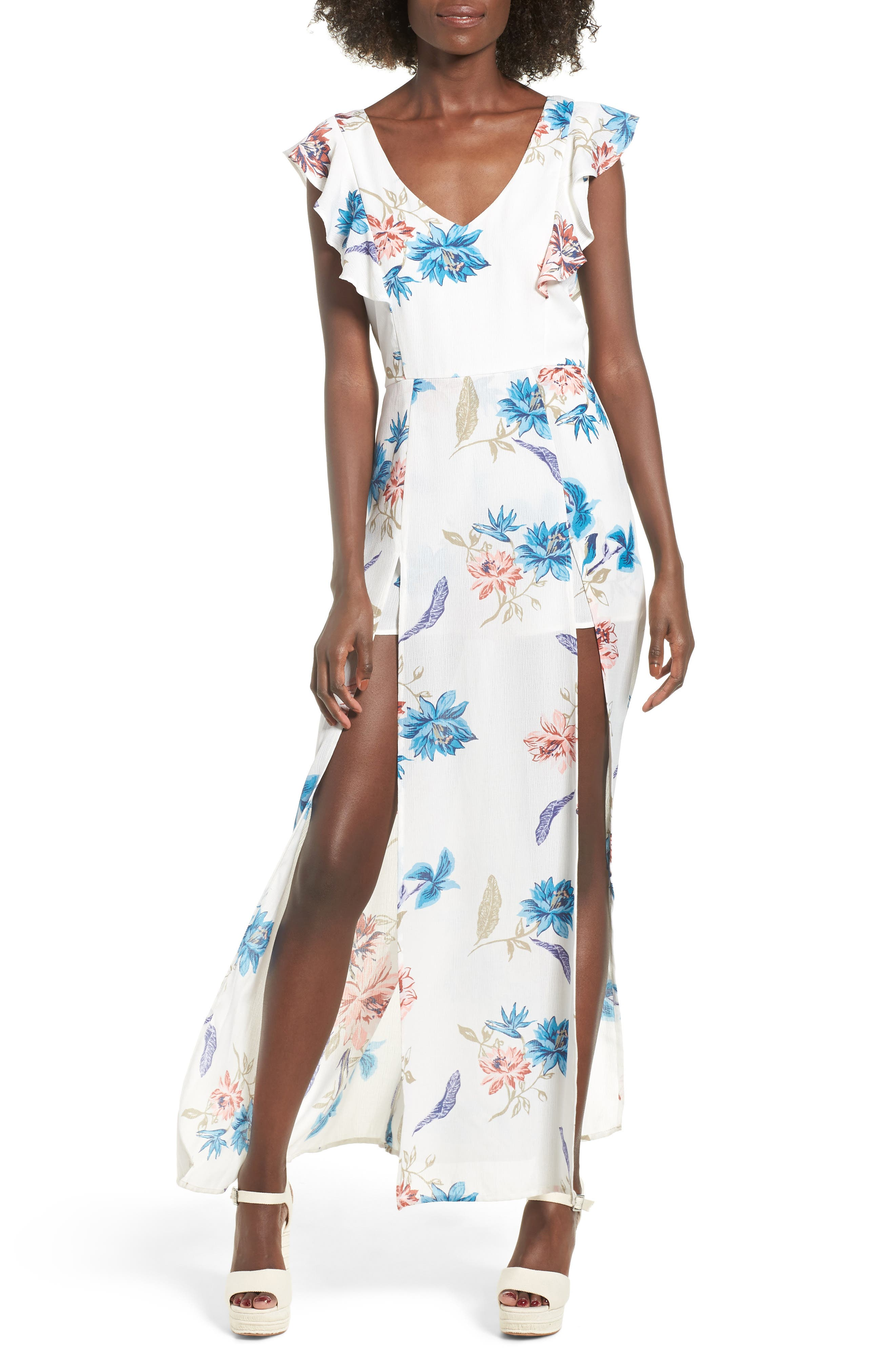 Floral Maxi Dress,                             Main thumbnail 1, color,                             White