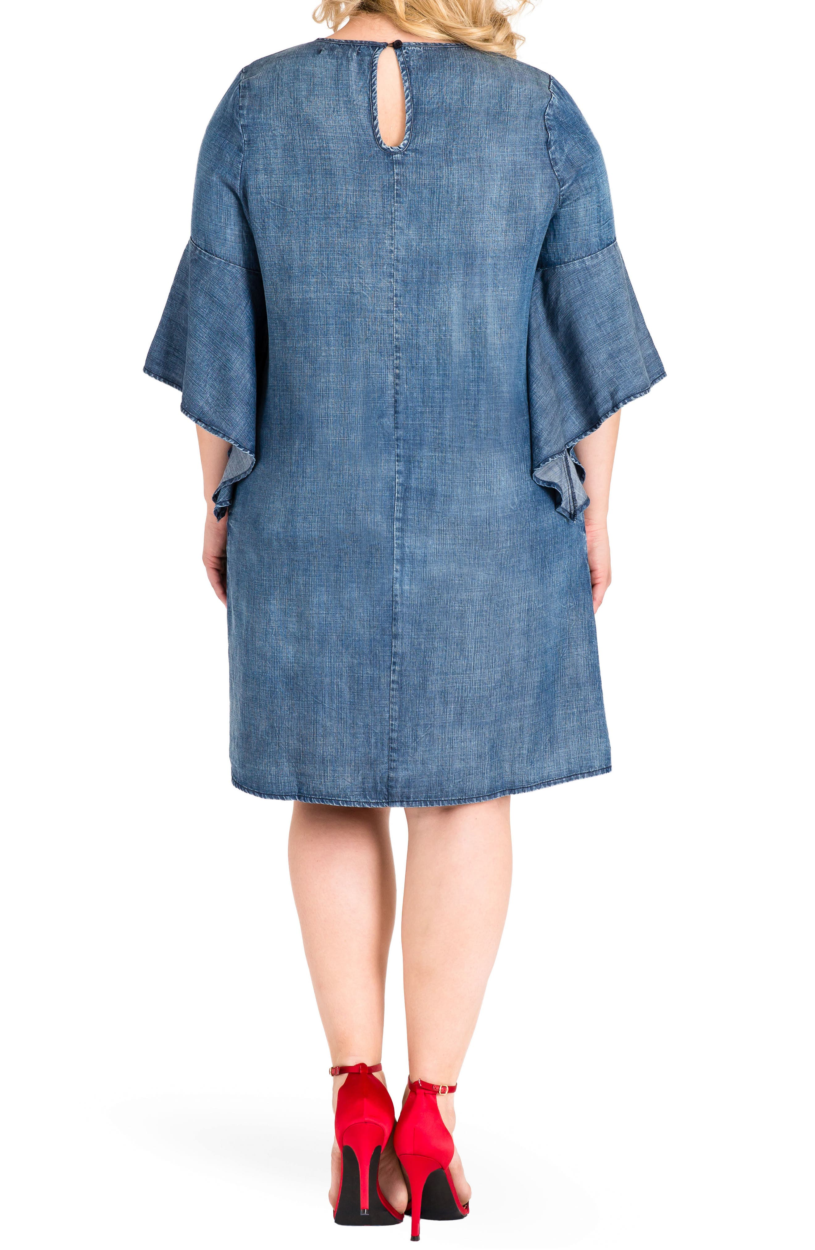 Sharon Ruffle Sleeve Mini Dress,                             Alternate thumbnail 2, color,                             Med Blue