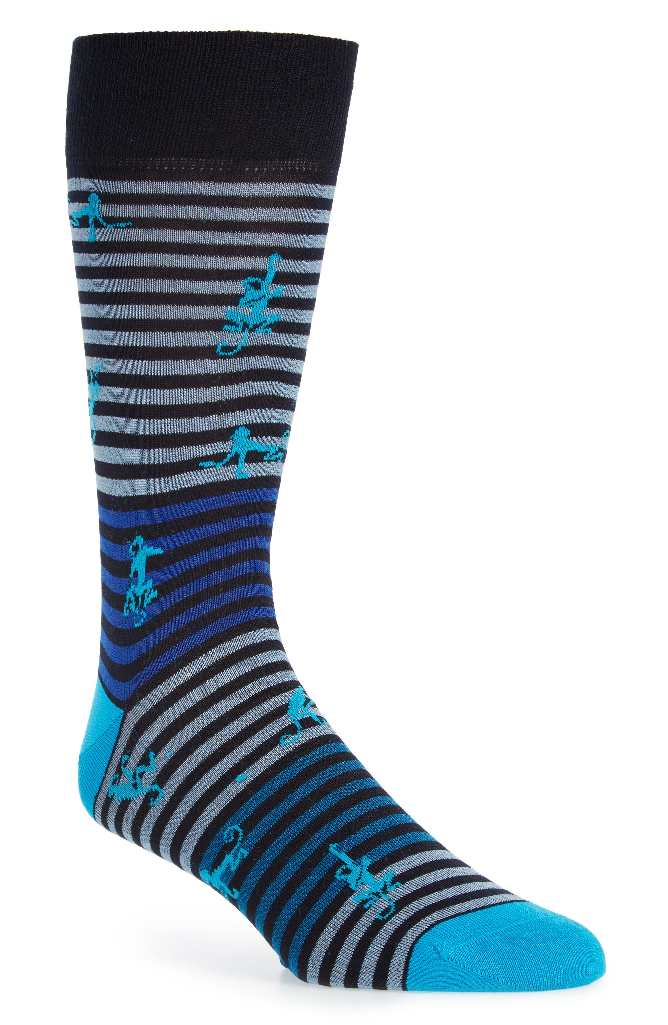 Monkey Mercerized Cotton Blend Socks,                             Main thumbnail 1, color,                             Aqua