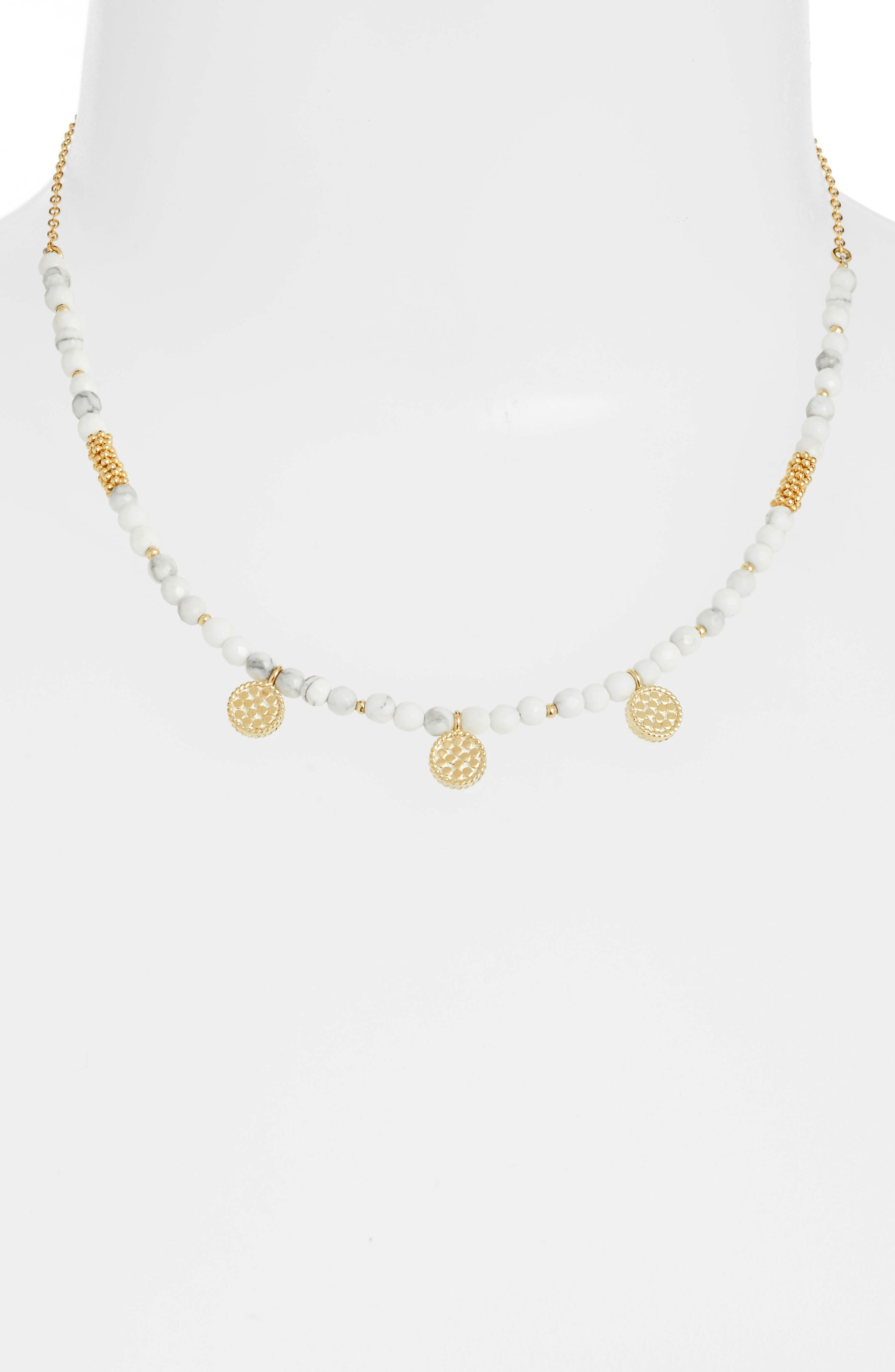 Howlite Beaded Charm Necklace,                         Main,                         color, Gold/ Howlite