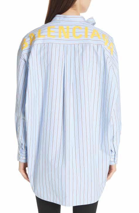 8ee3d78ebd6 Balenciaga Back Logo Stripe Shirt
