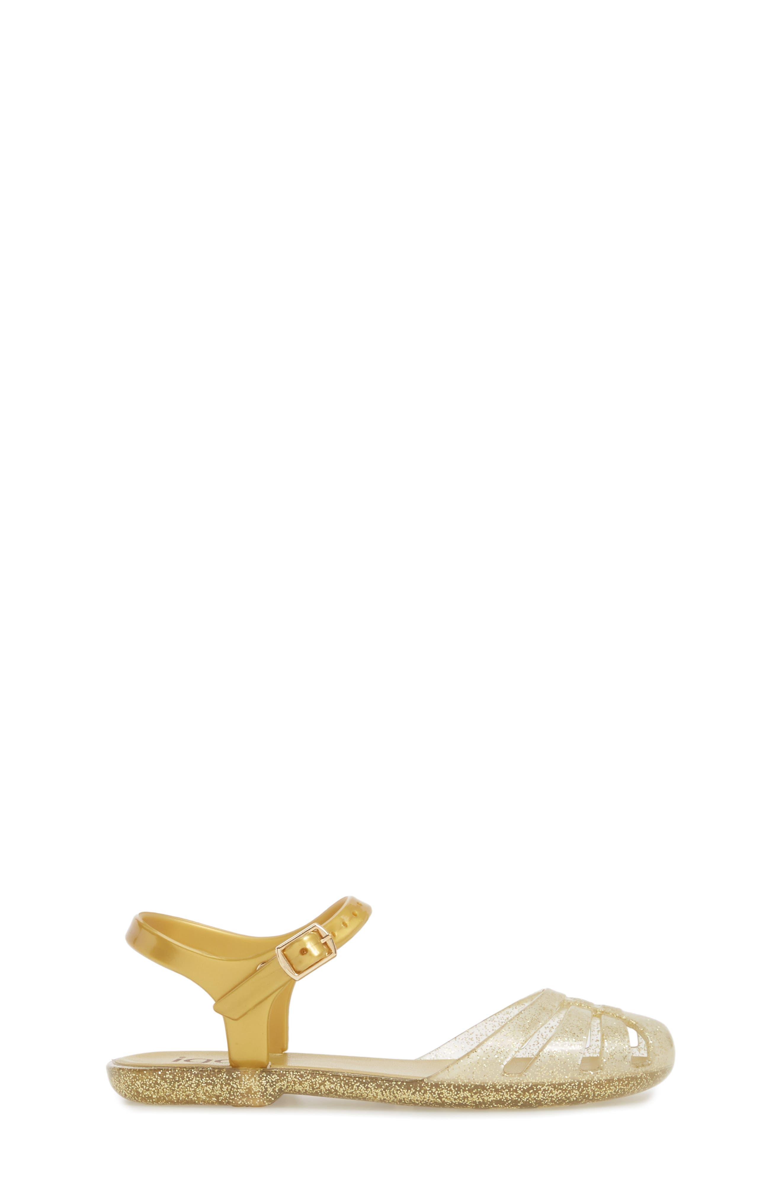 'Mara Mini' Glitter Jelly Sandal,                             Alternate thumbnail 3, color,                             Gold Glitter