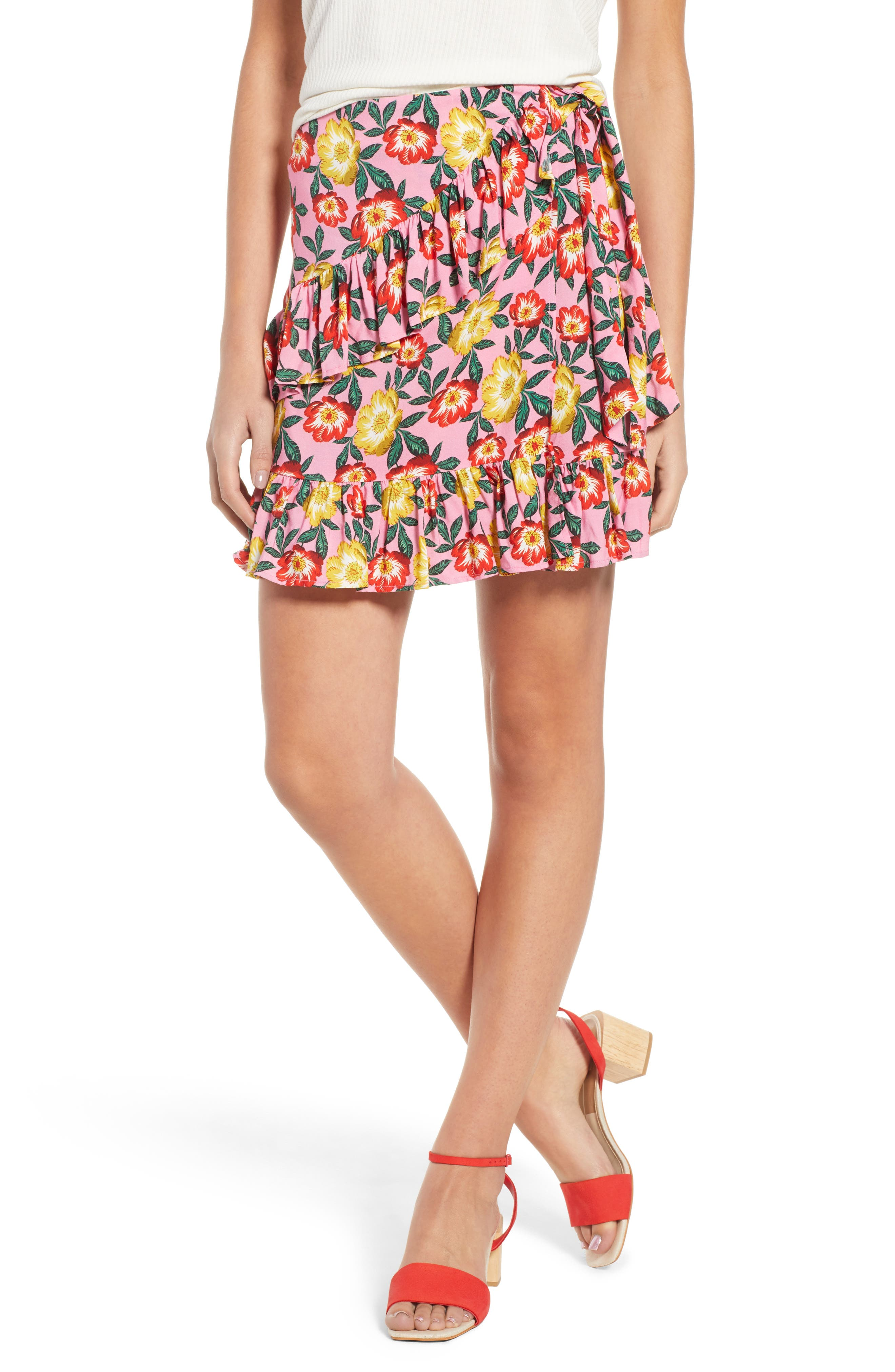 Reunion Floral Print Wrap Skirt,                             Main thumbnail 1, color,                             Small Blossom Roselle
