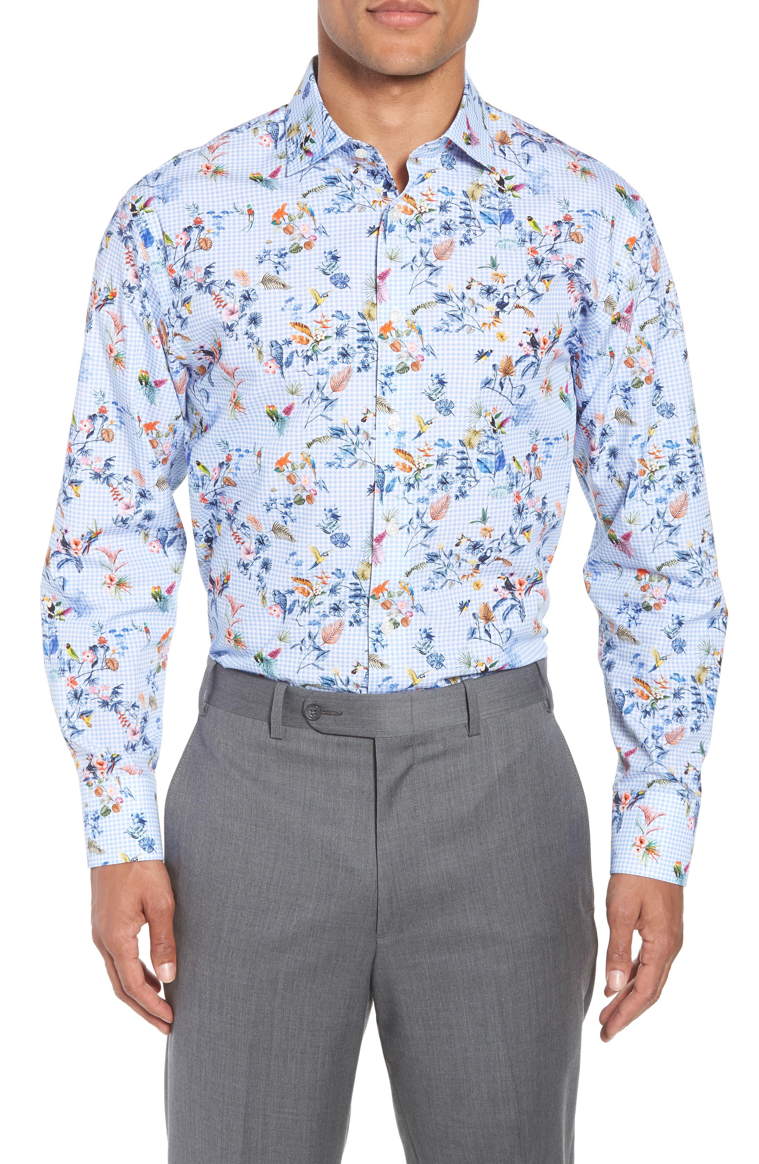 Trim Fit Floral Dress Shirt,                         Main,                         color, Blue Cornflower