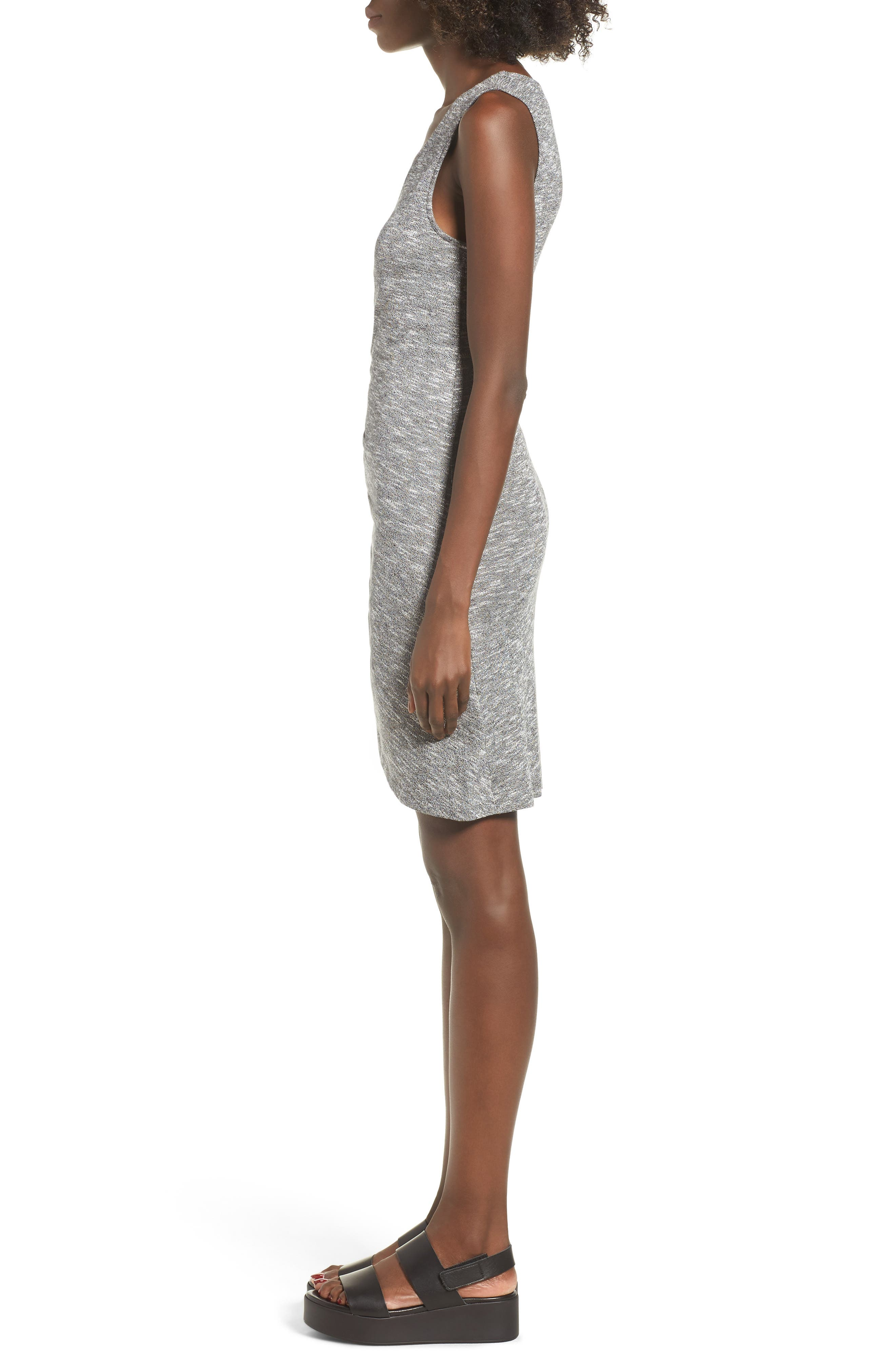 Ruched Tank Dress,                             Alternate thumbnail 4, color,                             Heather Grey