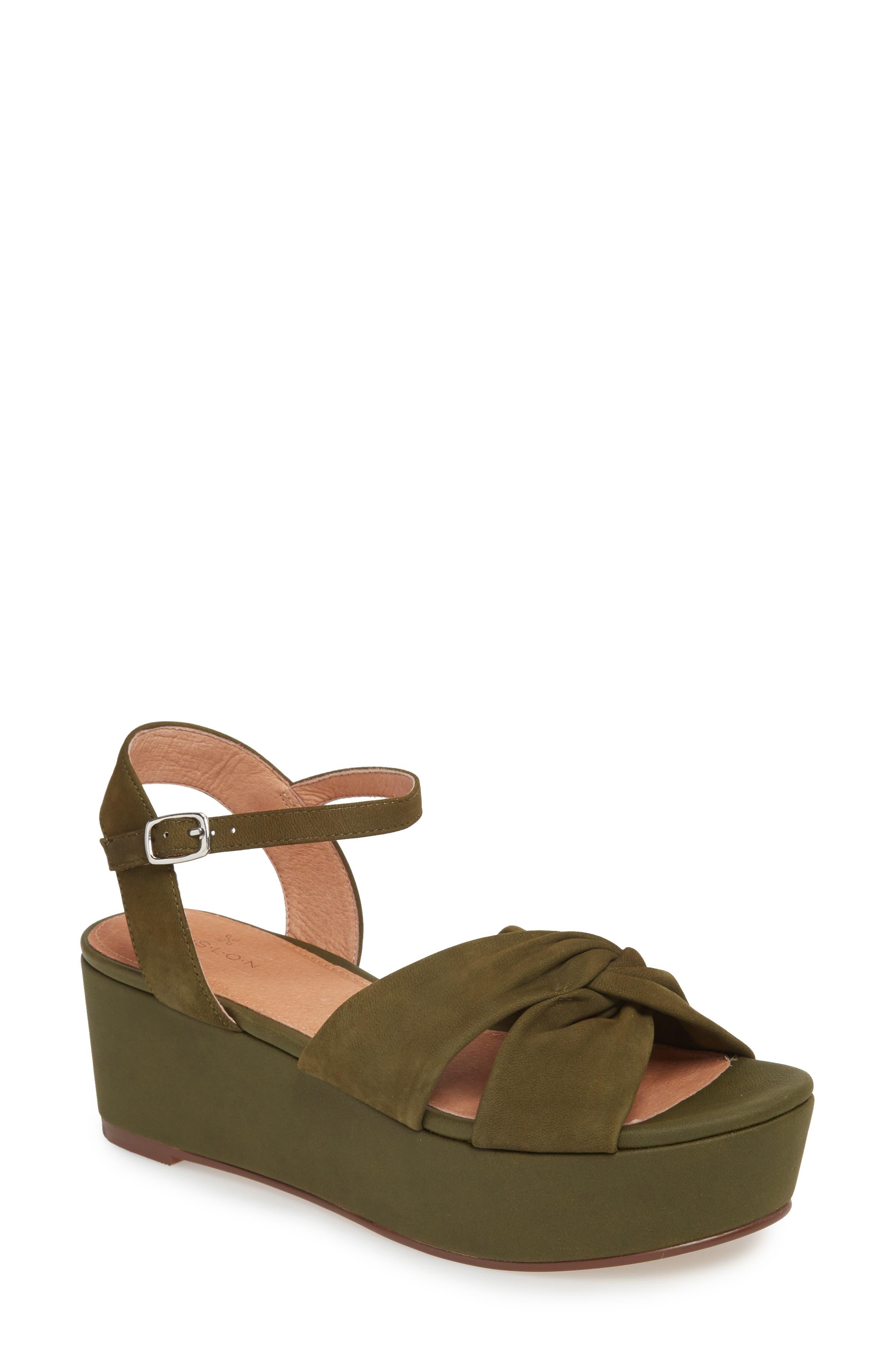 Ryder Platform Sandal,                         Main,                         color, Olive Nubuck