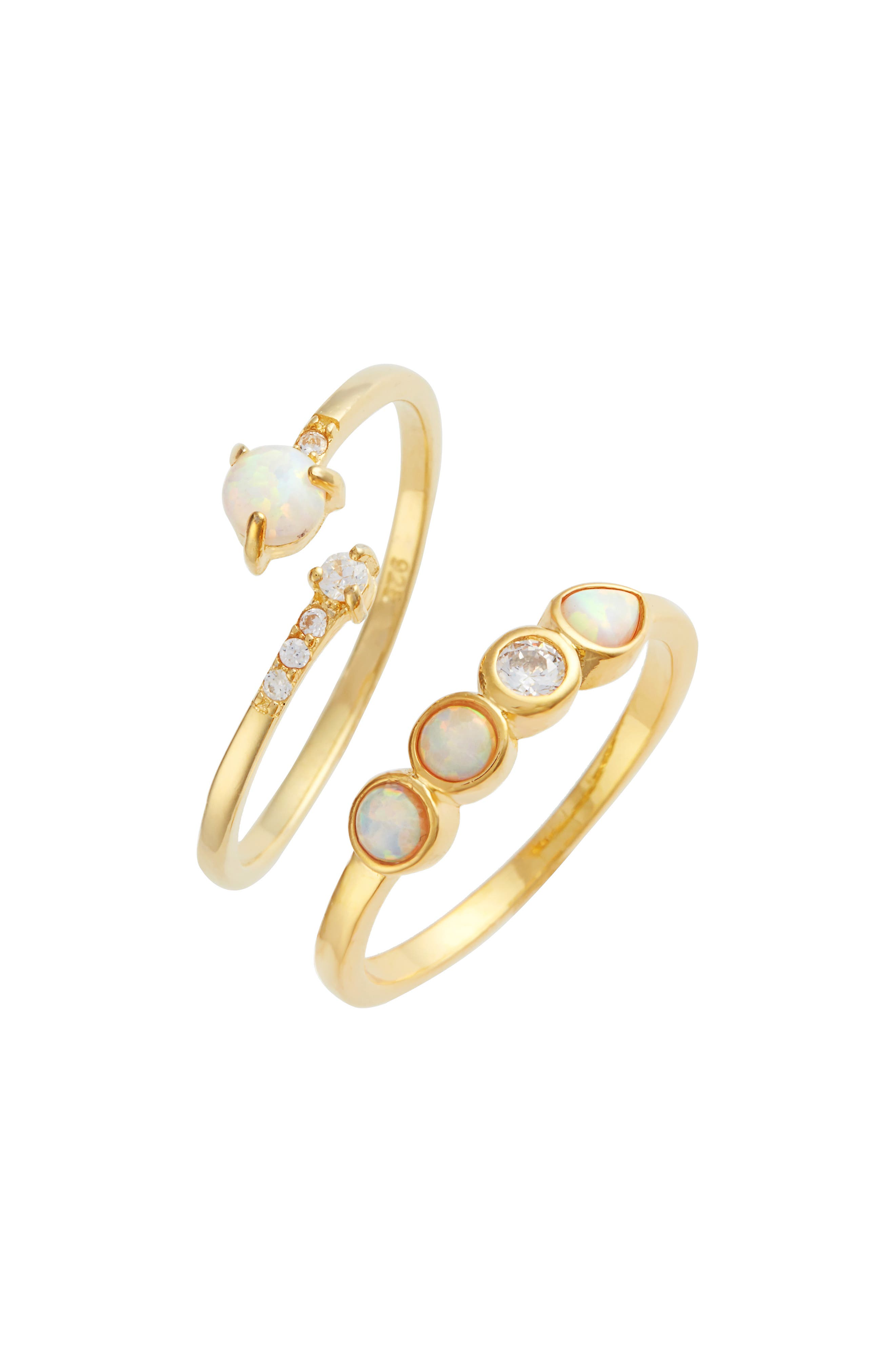 Lydia Set of 2 Opal & Crystal Rings,                             Main thumbnail 1, color,                             Gold
