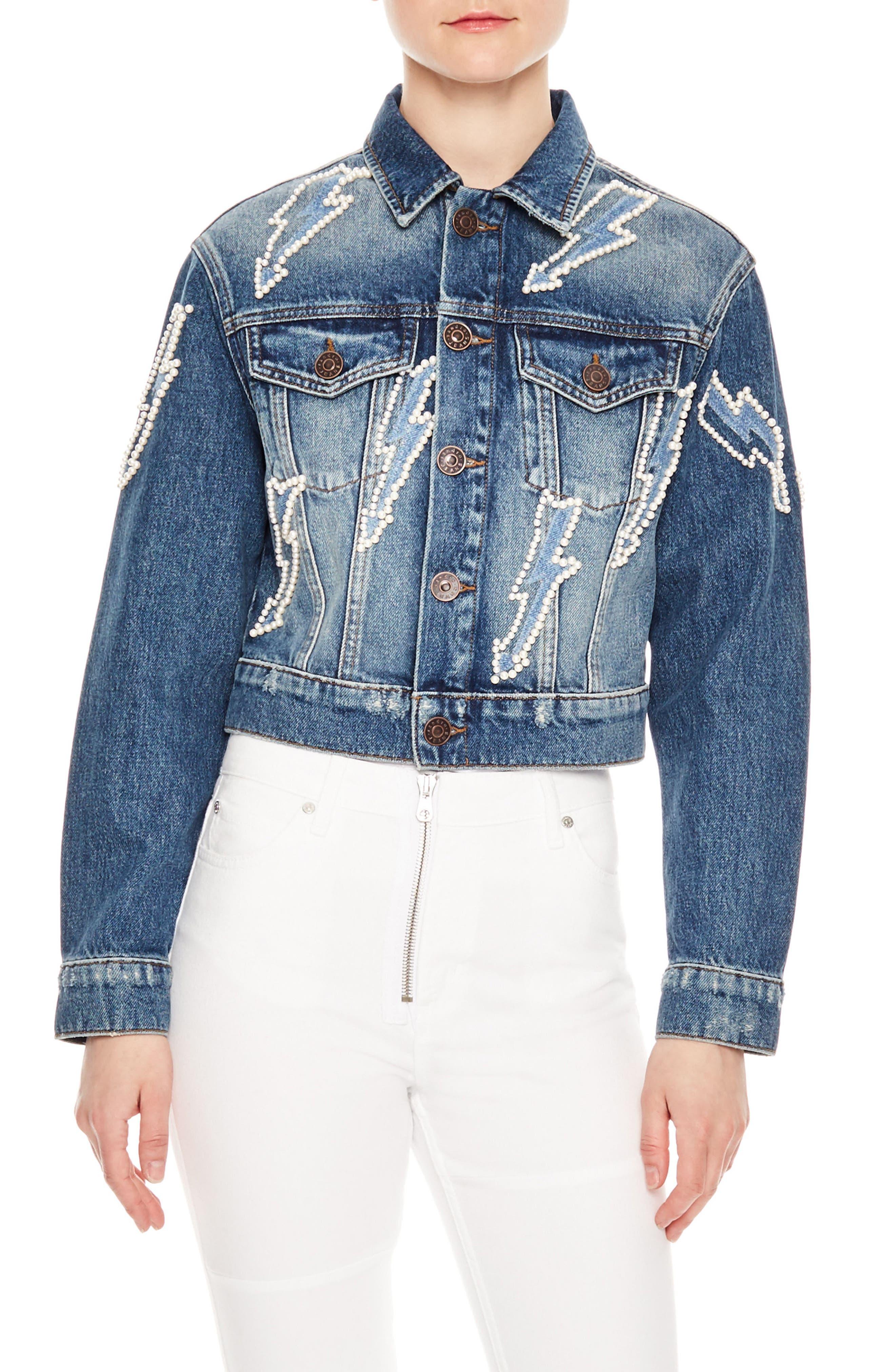 Pearly Bauble Lightning Bolt Denim Jacket,                             Main thumbnail 1, color,                             Blue Vintage - Denim