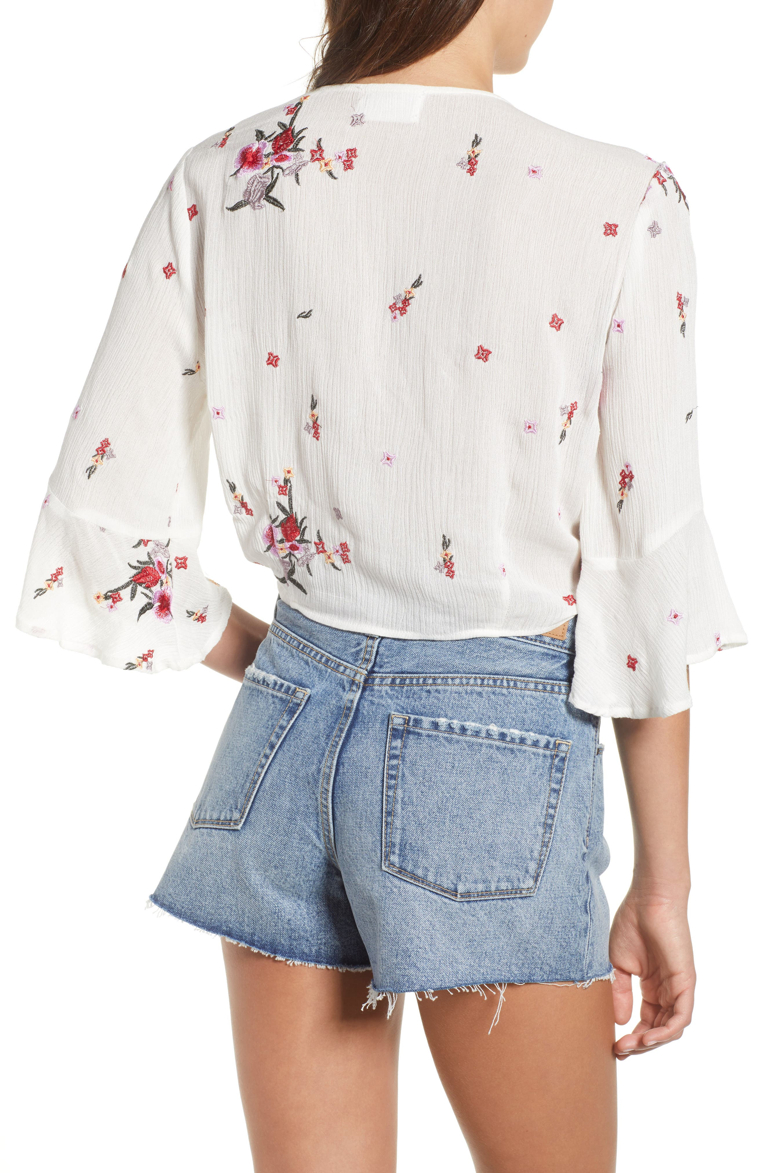 Senorita Embroidered Crop Top,                             Alternate thumbnail 3, color,                             White Floral