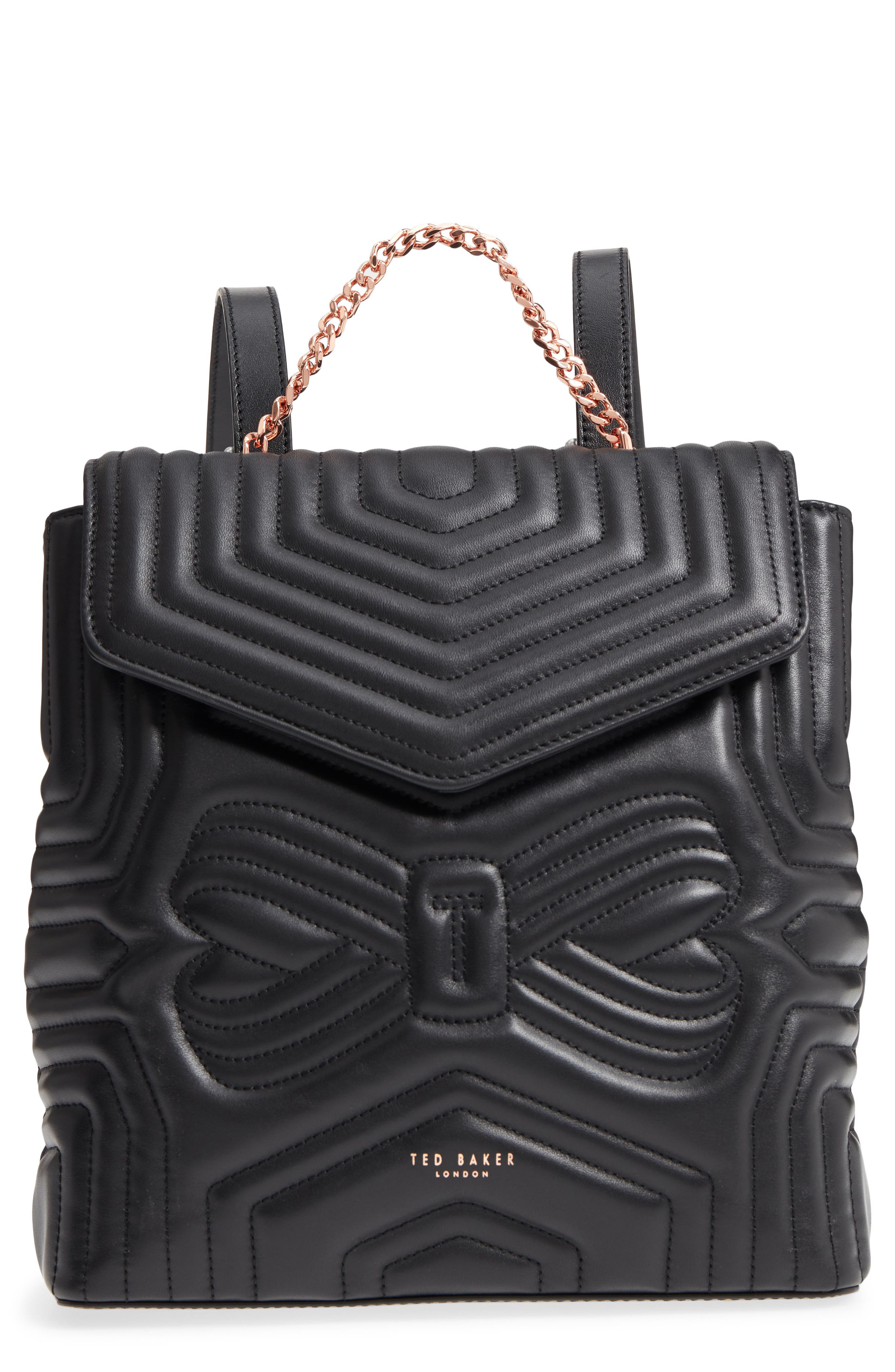 Quilted Bow Leather Backpack,                         Main,                         color, Black