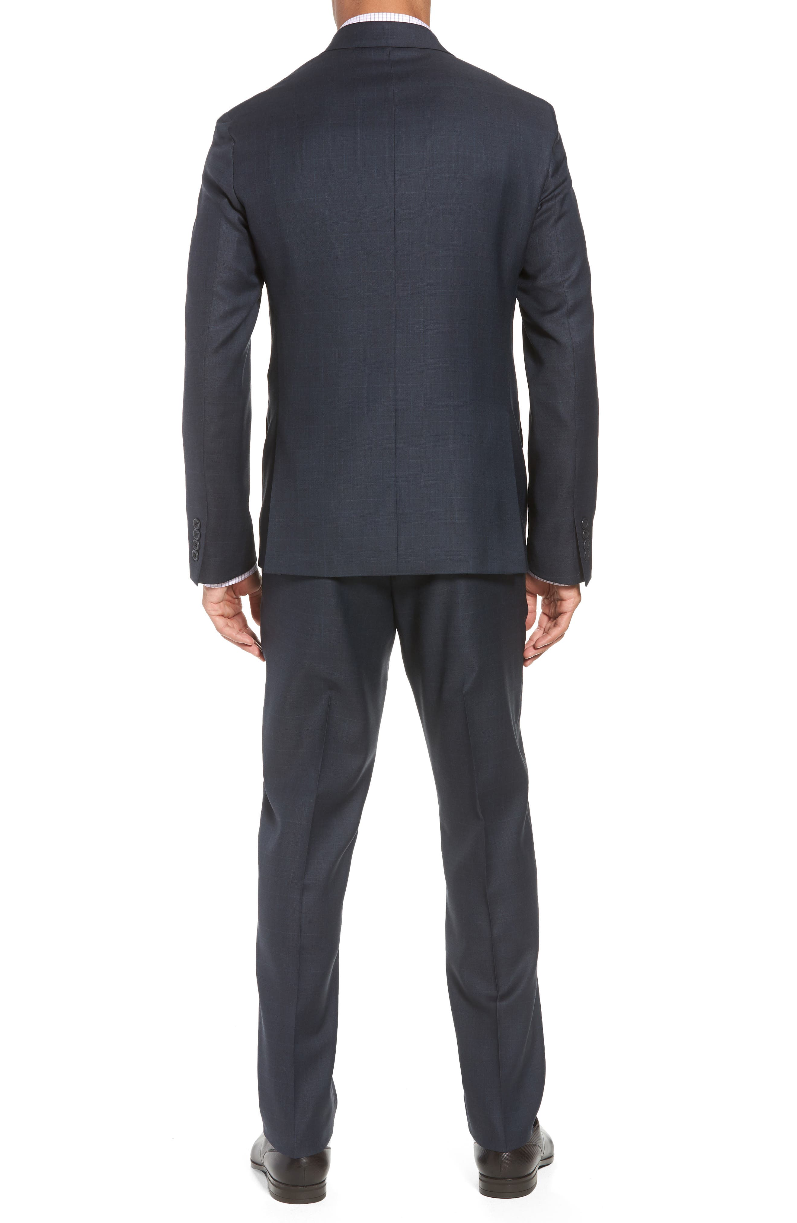 Trim Fit Plaid Wool Suit,                             Alternate thumbnail 2, color,                             Navy