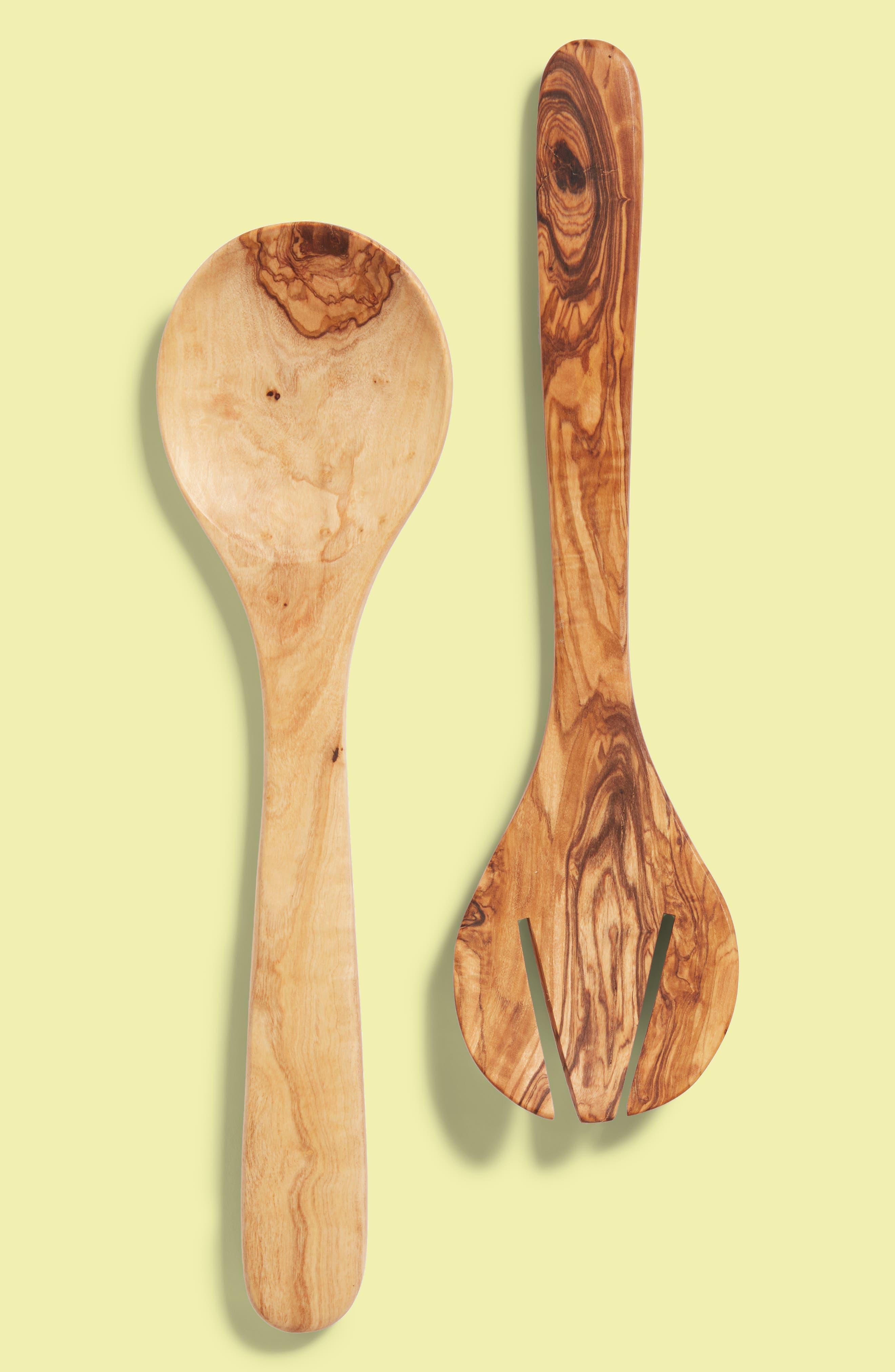 2-Piece Olive Wood Round Serving Set,                         Main,                         color, Wood